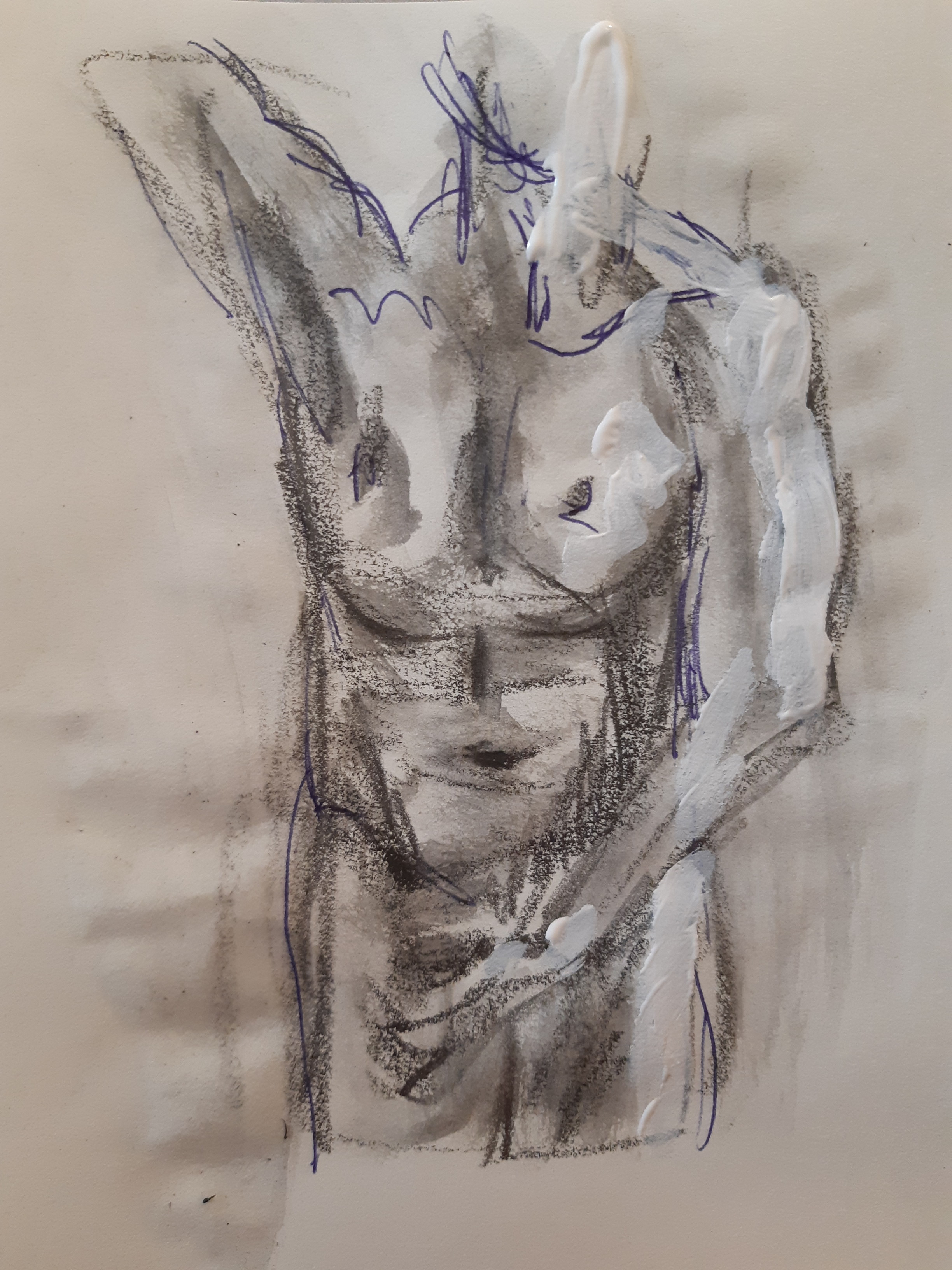 Dessin buste face bic fusain gouache blanche  cours de dessin