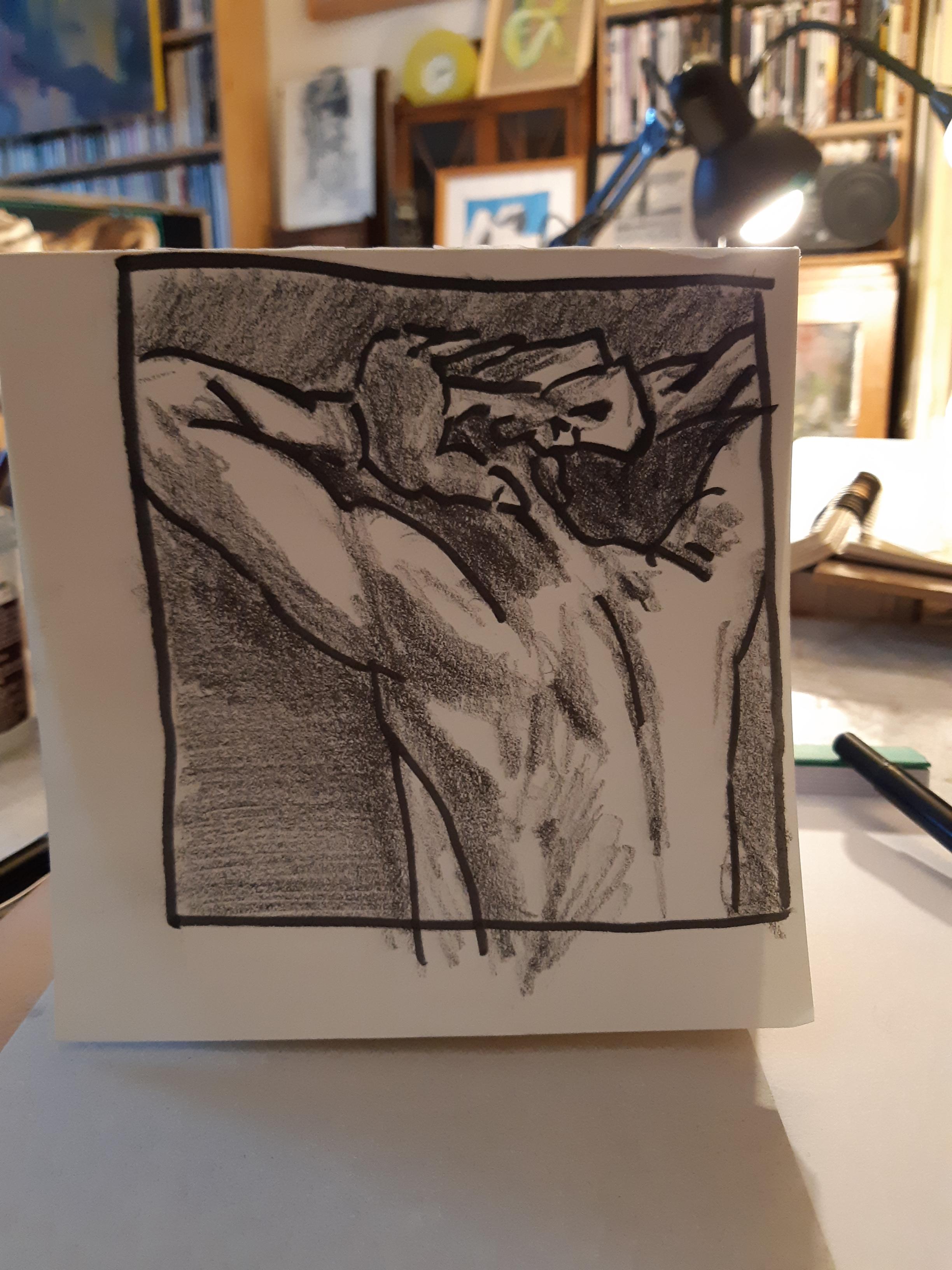 Esquisse graphite feutre trois quarts dos sur papier  cours de dessin
