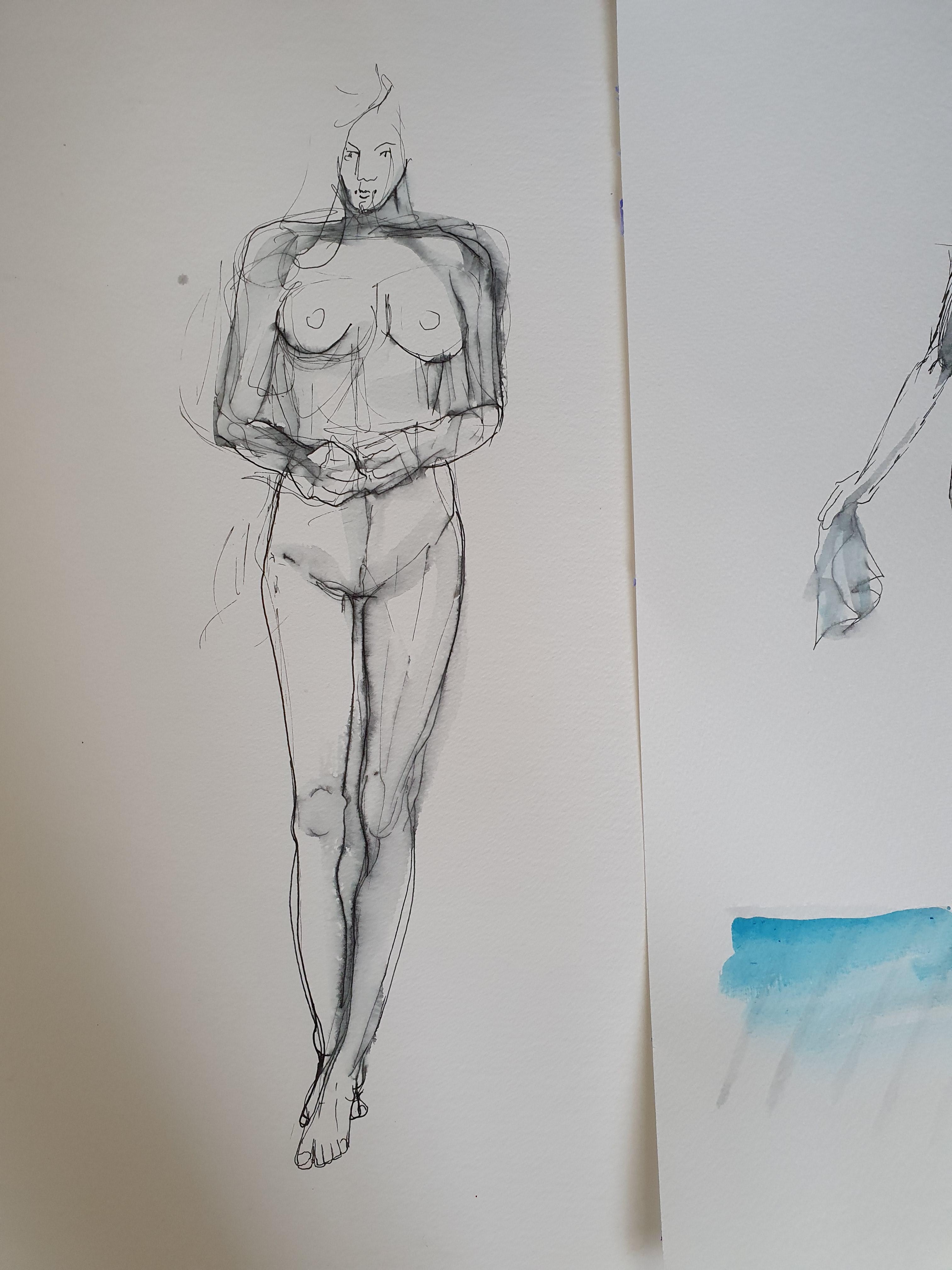 Esquisse feutre fin aquarelle corps face sur papier  cours de dessin