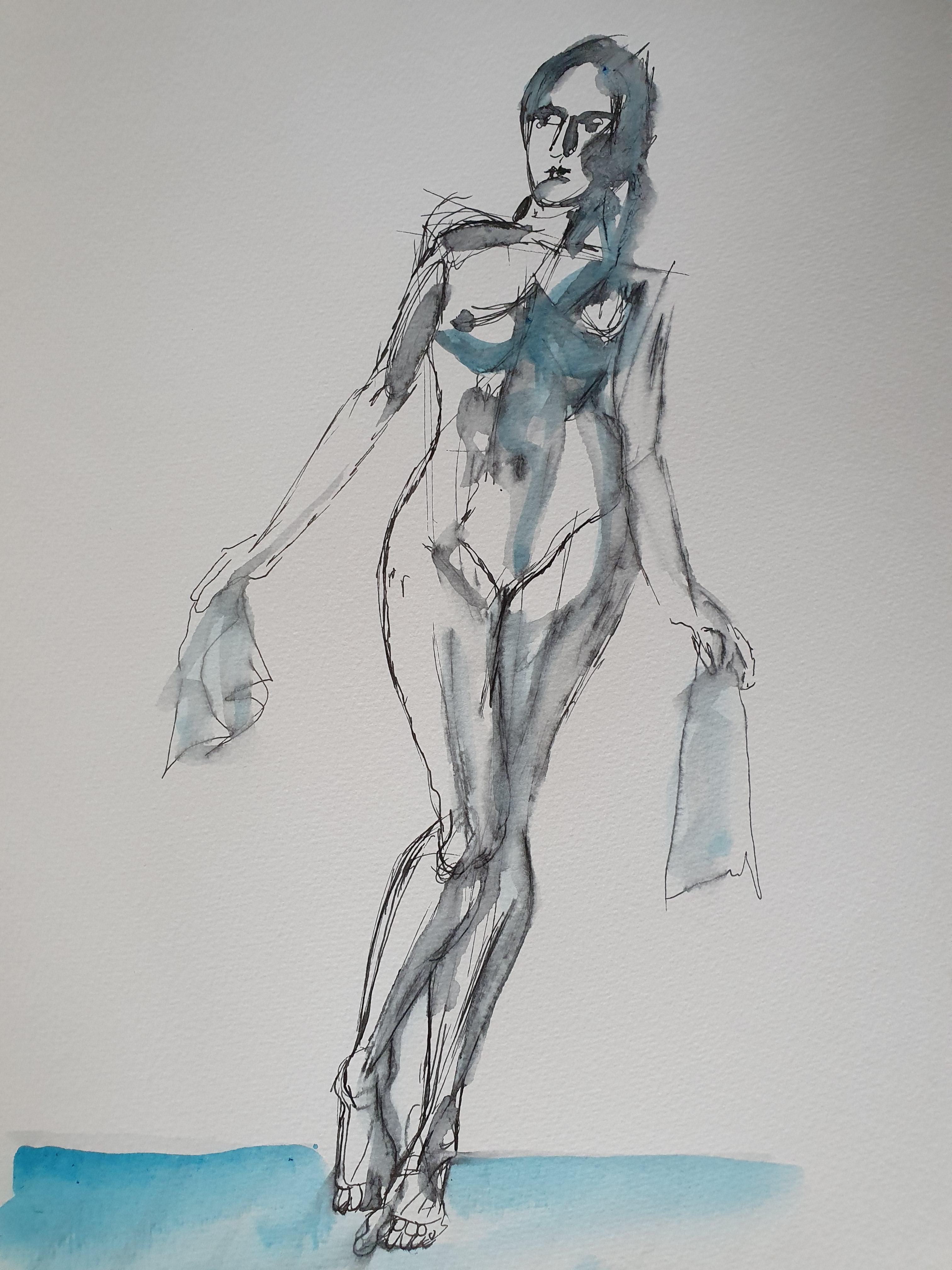 Croquis feutre fin aquarelles bleues modèle vivant de face sur papier  cours de dessin