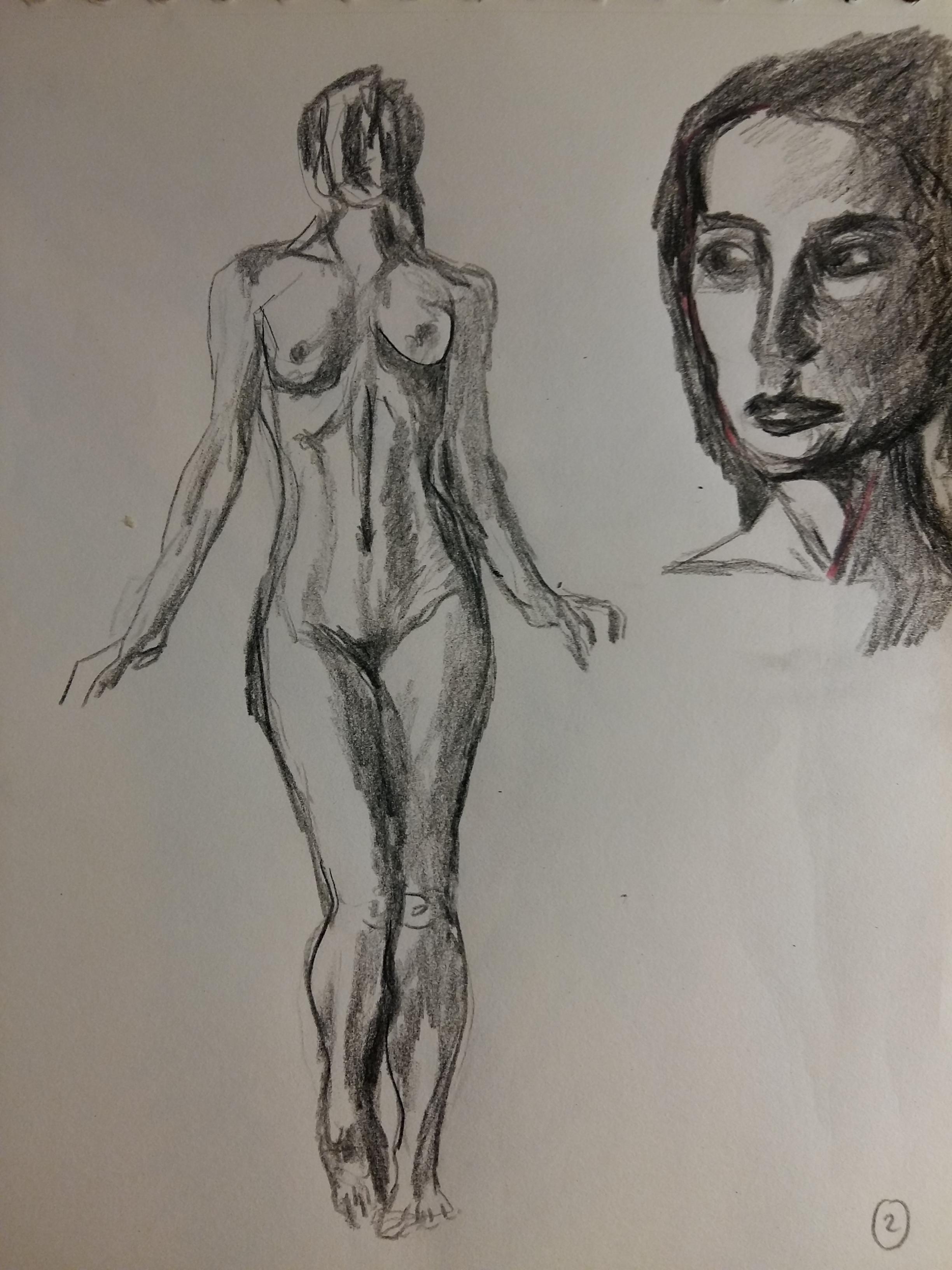 Composition corps femme en pied avec portraits réalisés dans notre atelier dessin  cours de dessin