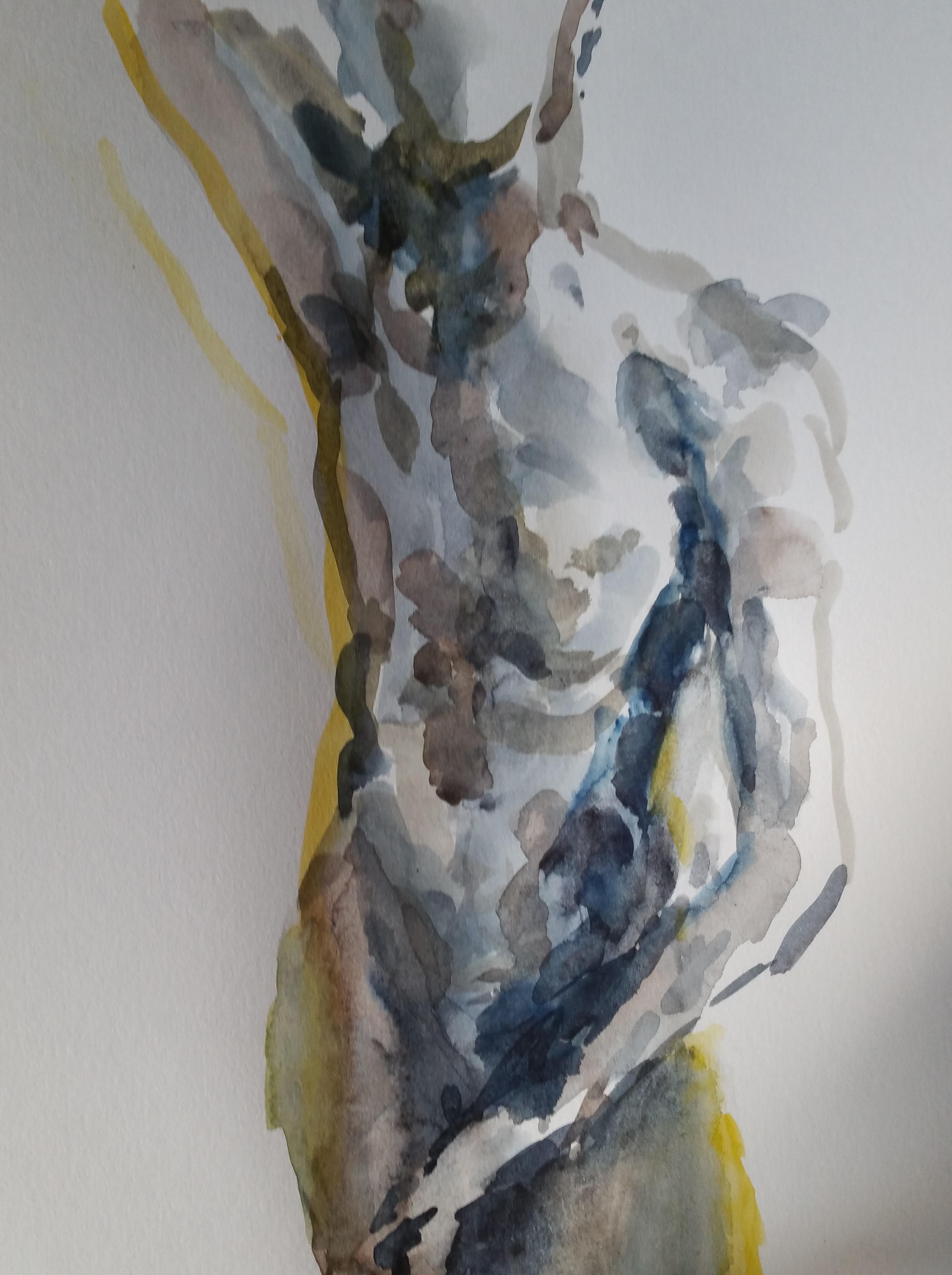 Dessin aquarelles polychrome buste trois quarts face réalisé dans nos cours de dessin  cours de dessin