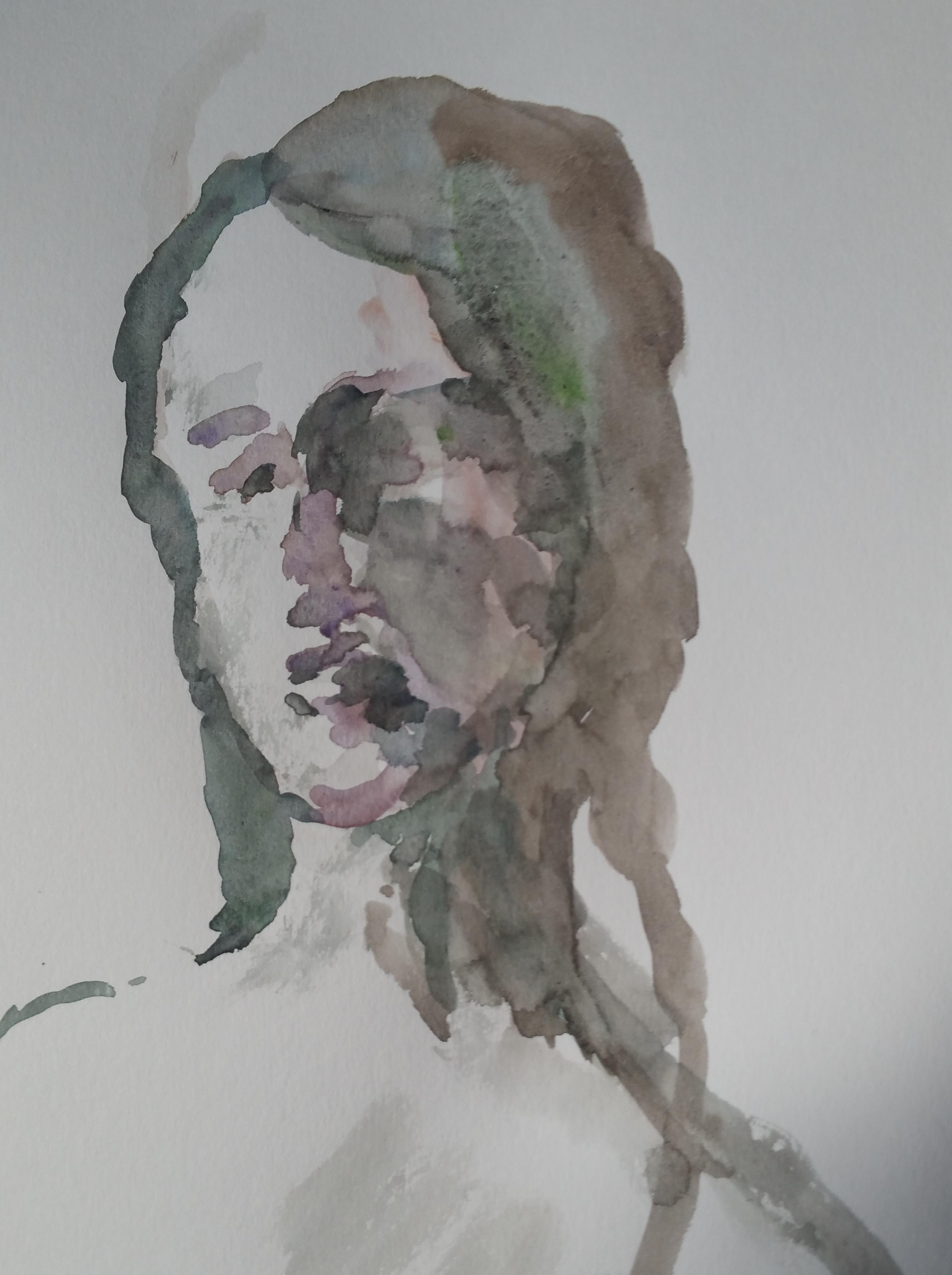 Tête aquarelle trois quarts face portraits dessin  cours de dessin
