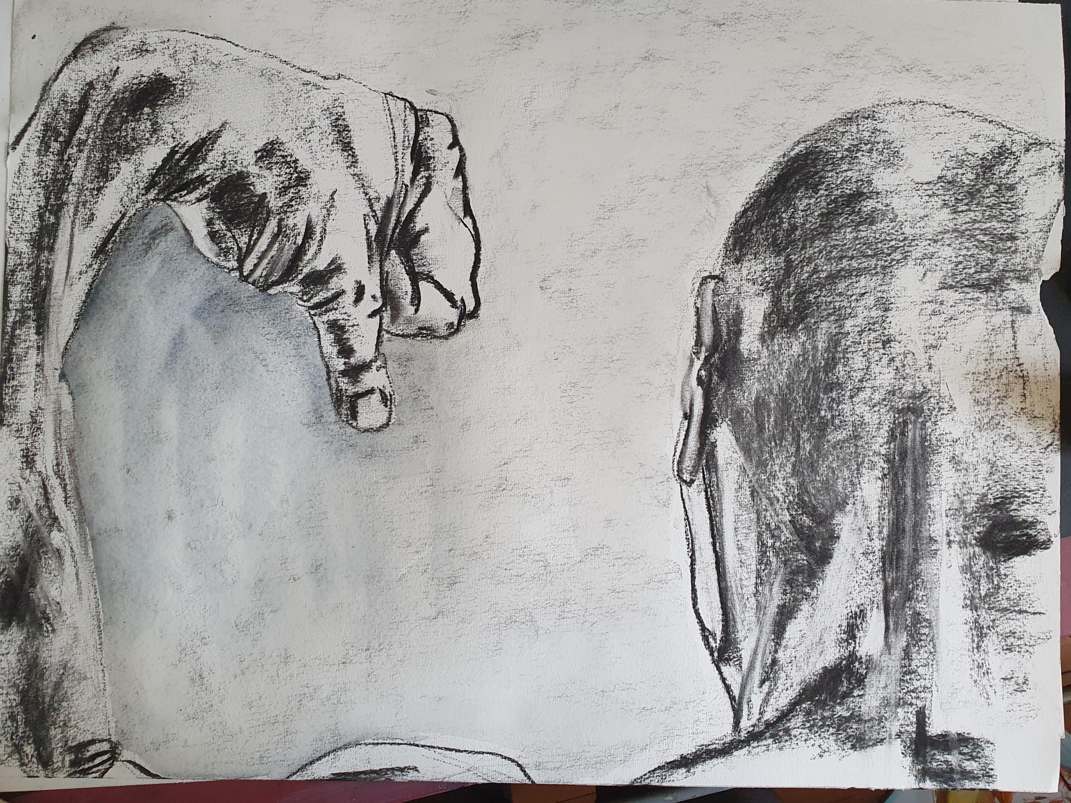 Dessin fusain et tête de dos  cours de dessin