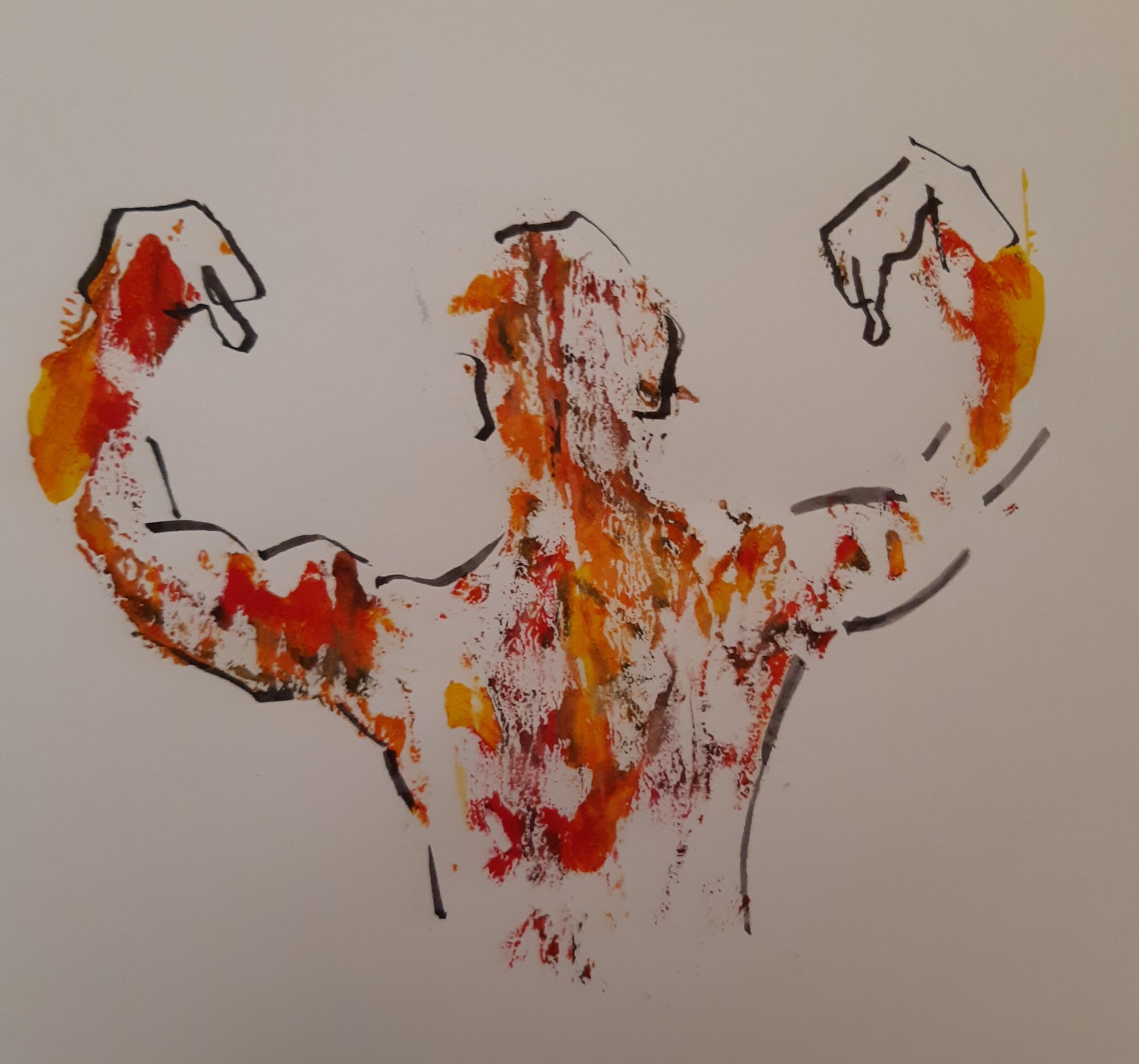 Peinture estompe couleurs tout homme technique mixte  cours de dessin