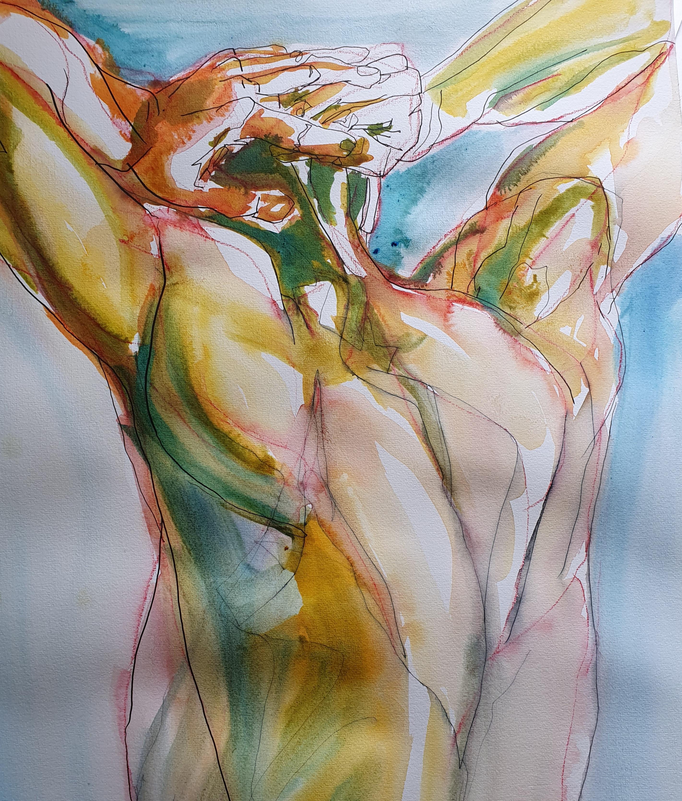 Étude aquarelle dos homme couleurs vu de trois quarts dos  cours de dessin