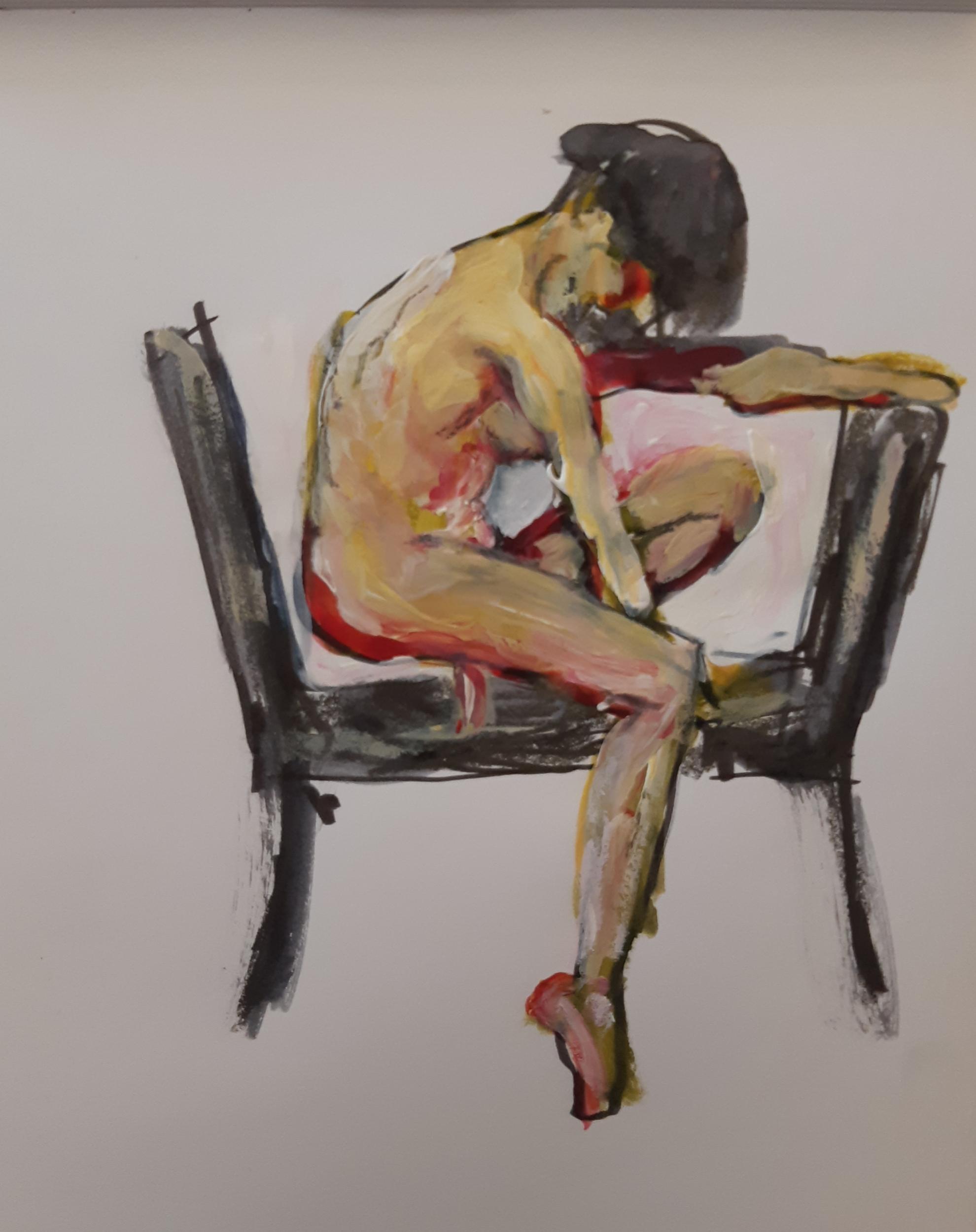 Peinture deux chaises et une femme technique mixte sur papier  cours de dessin