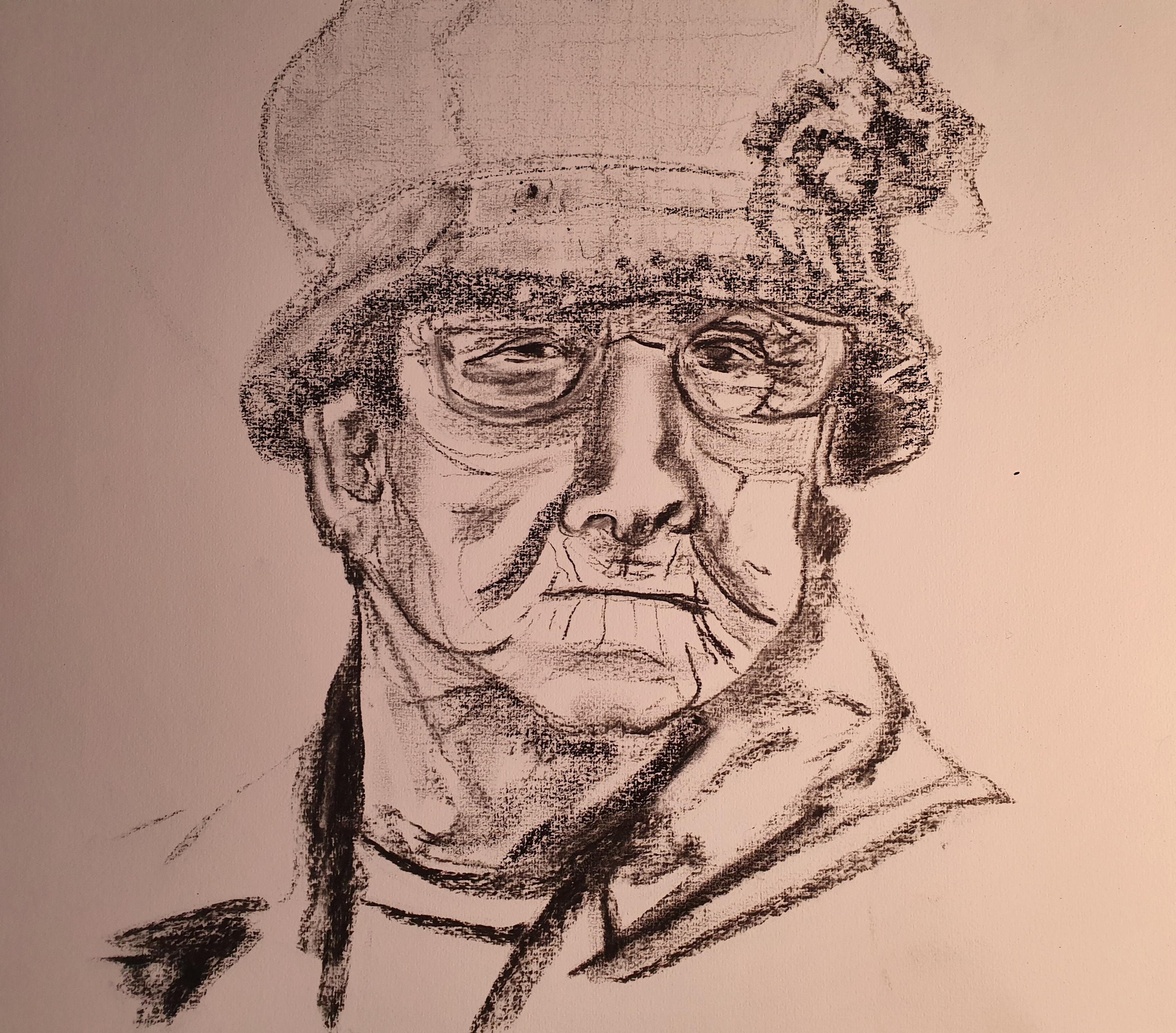 Portrait femme avec chapeau fusain esquisse  cours de dessin