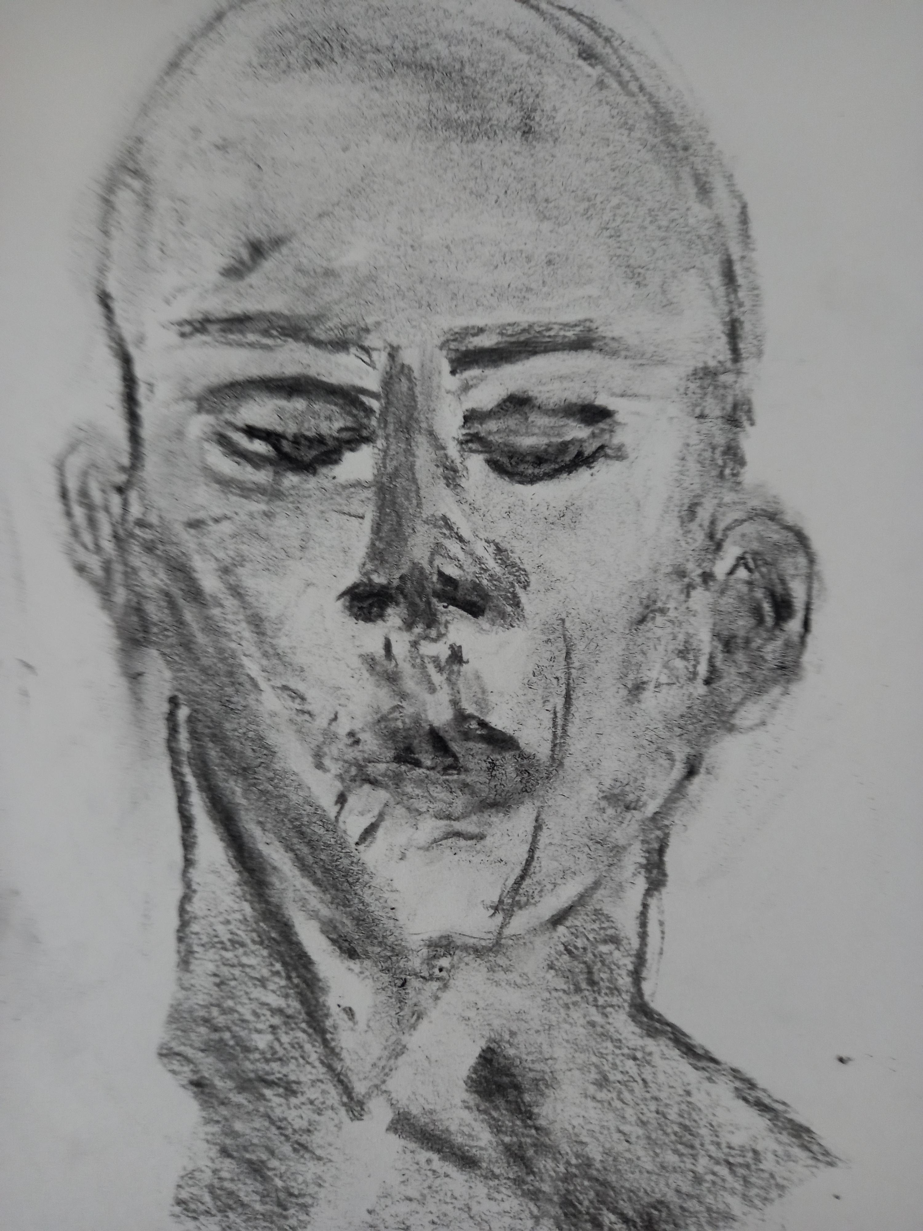 Portrait fusain homme face sur papier  cours de dessin