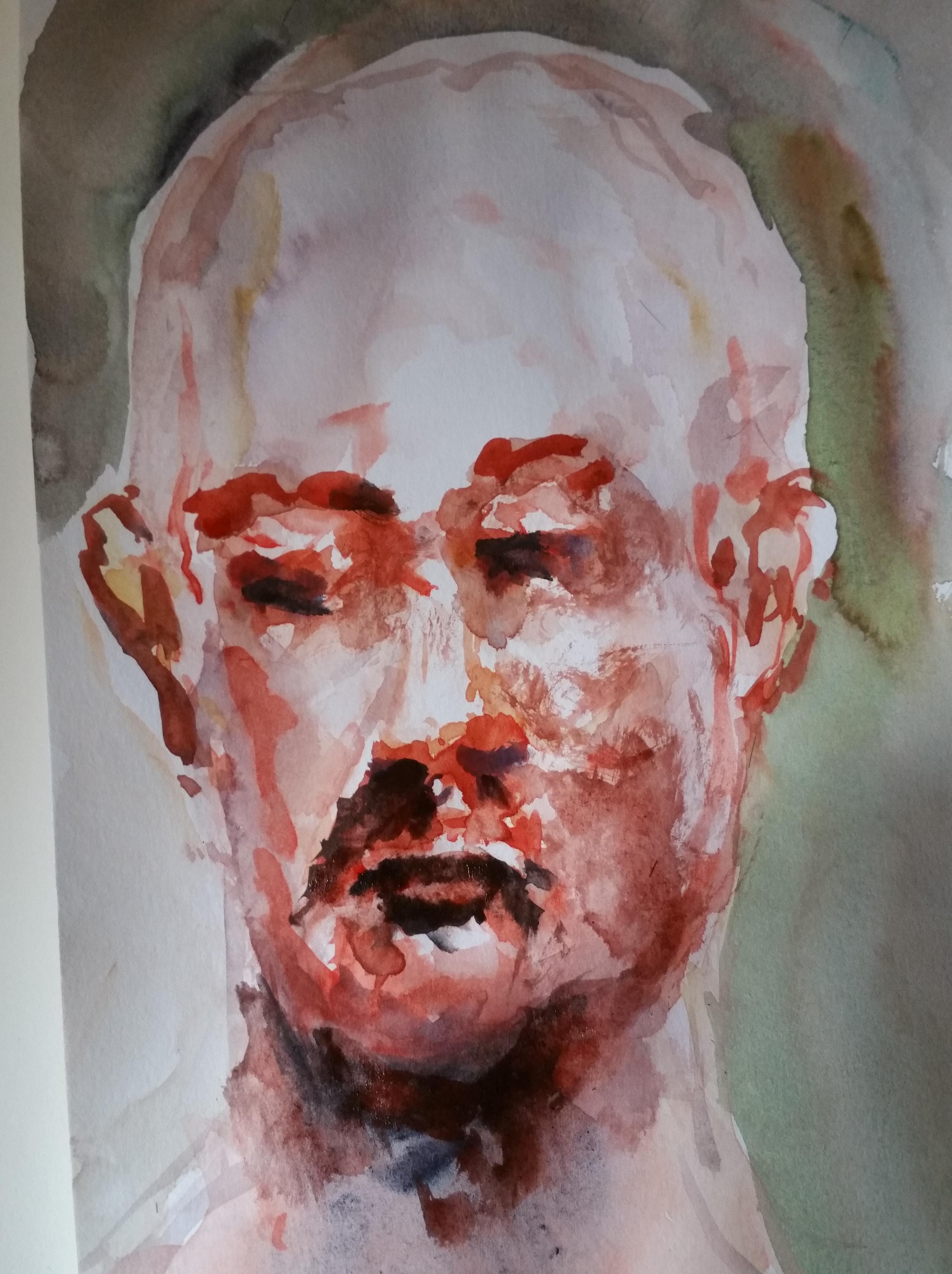 Portrait aquarelle face homme sur papier  cours de dessin