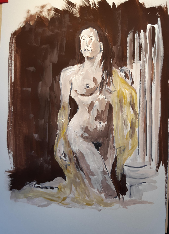Peinture gouache sur papier buste de femme  cours de dessin