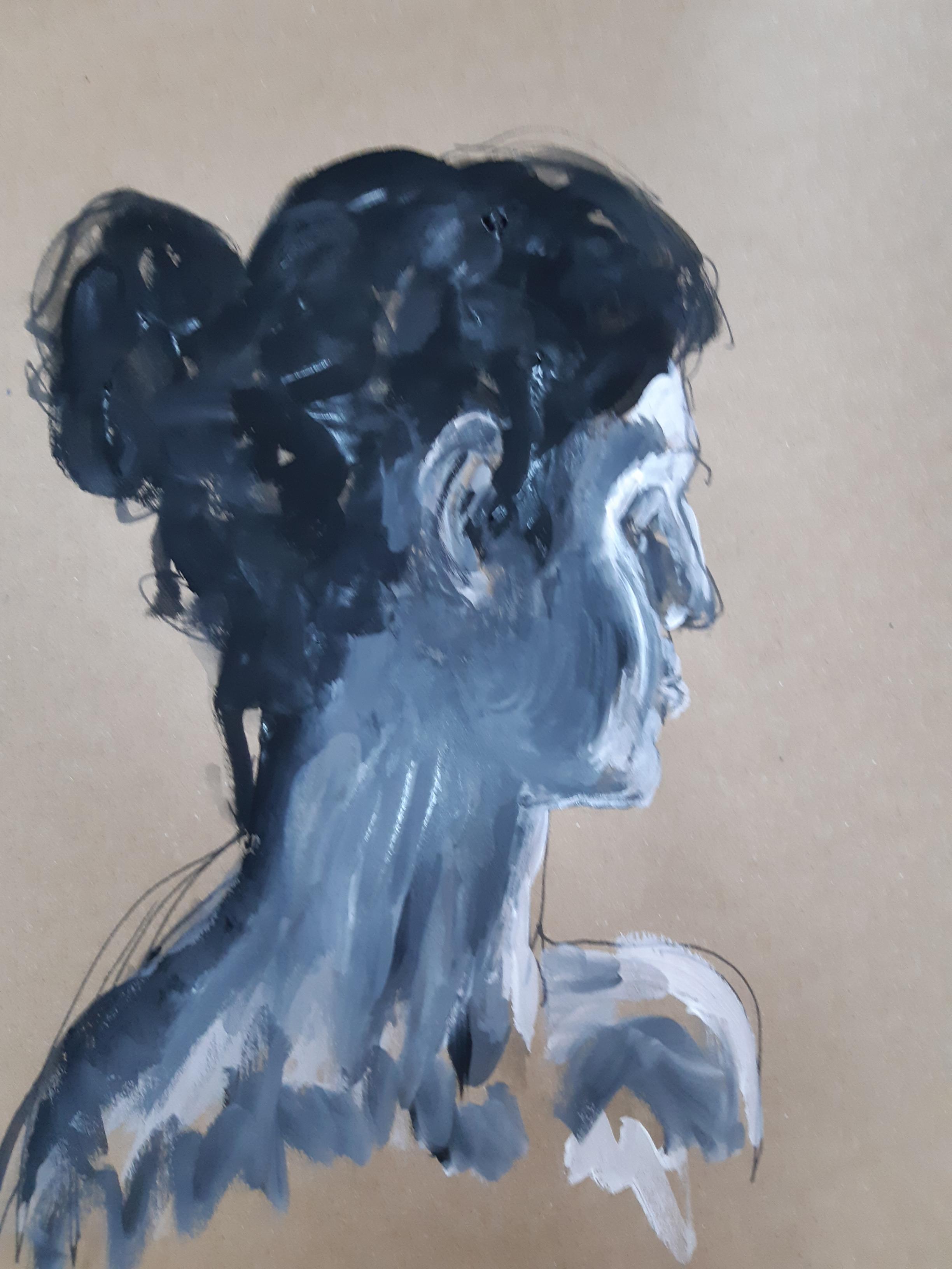 Gouache sur papier Kraft camaïeu de bleus portraits trois quarts dos  cours de dessin