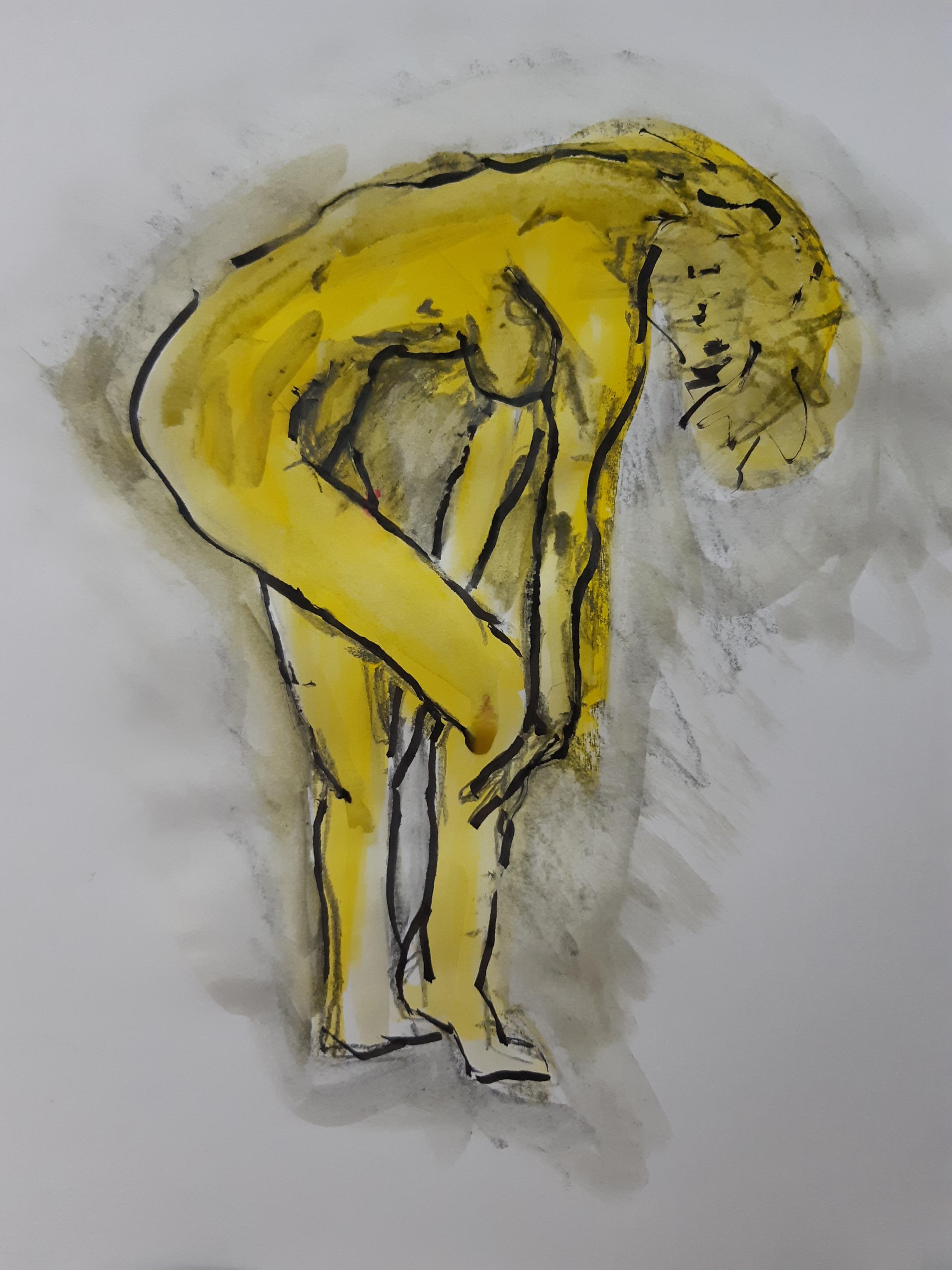 Dessin Modèle vivant profil technique mixte feutre peinture jaune gouache sur papier  cours de dessin
