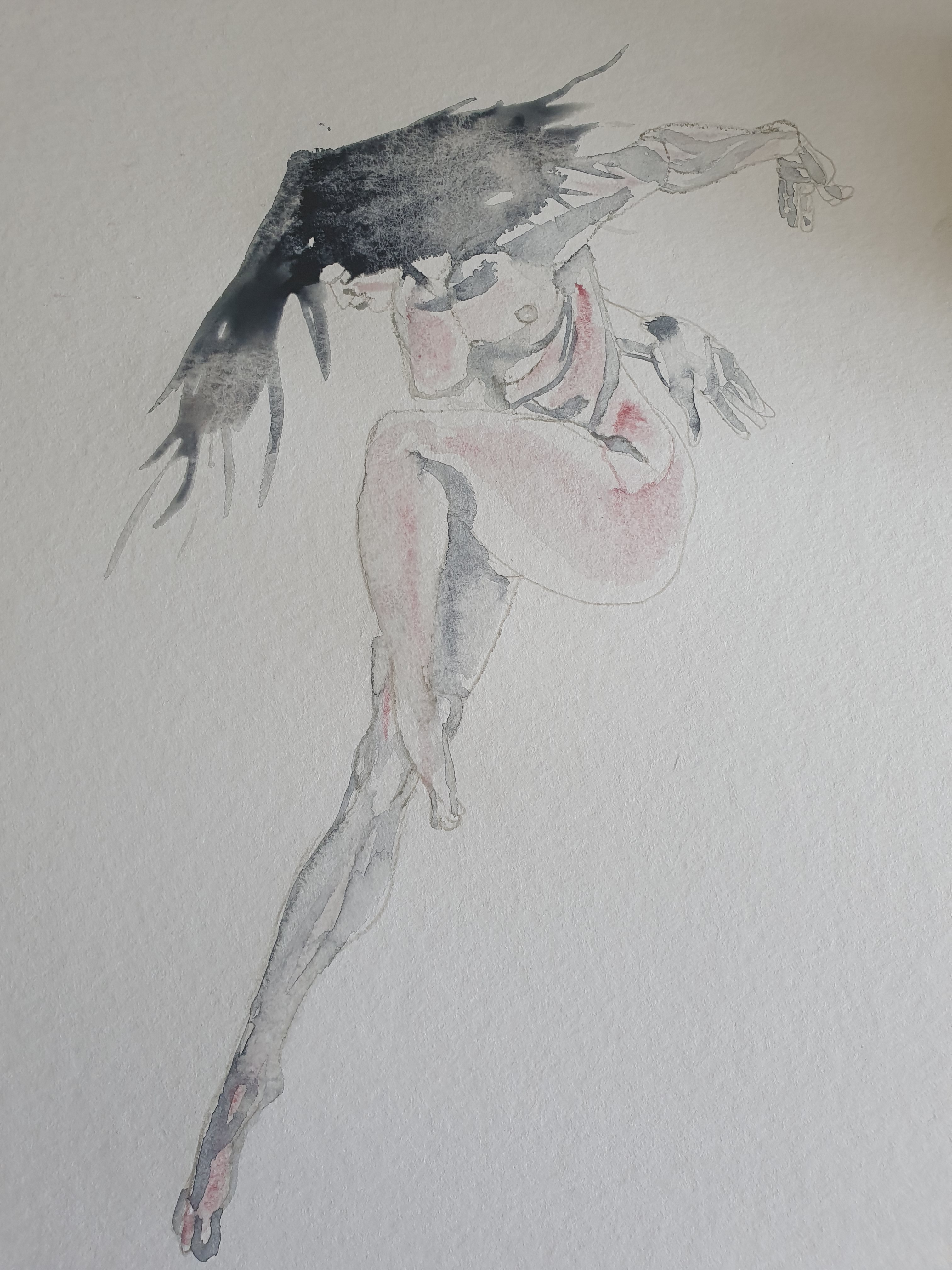 Dessin aquarelle et crayon de papier corps en extension technique polychrome bleue et rouge  cours de dessin