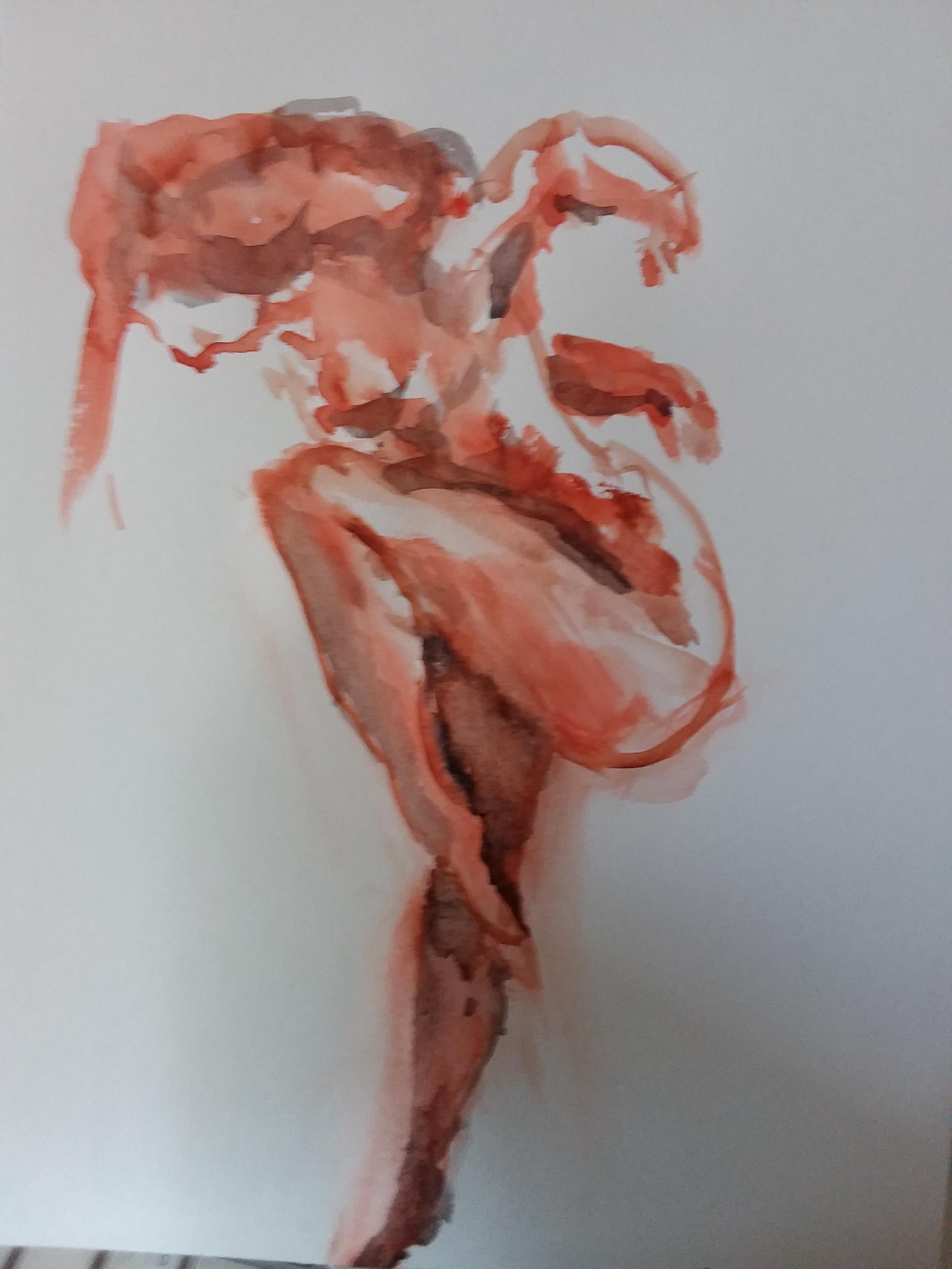 Dessin pose regrouper en extension aquarelle orange et noire  cours de dessin