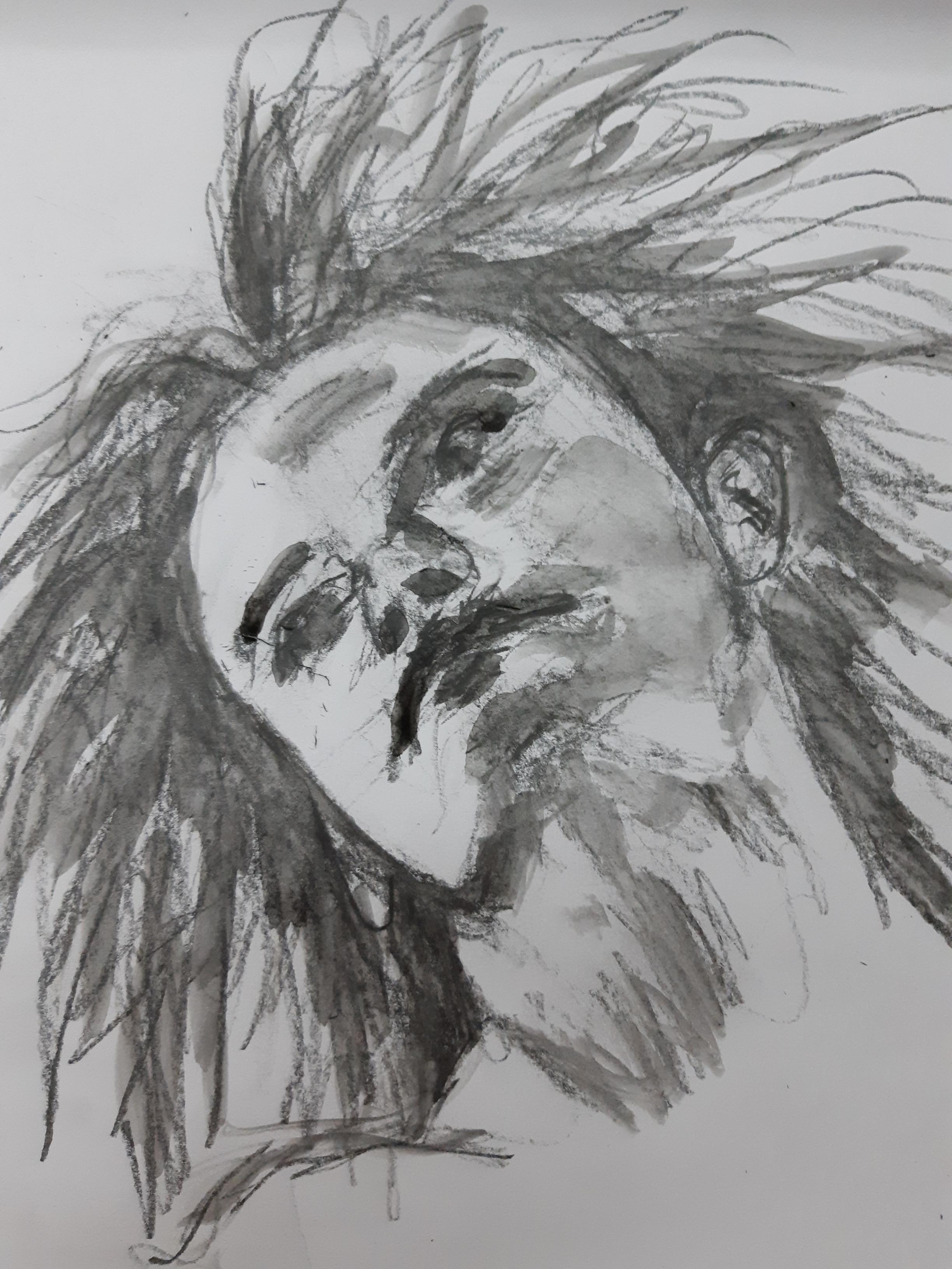 Portrait technique mixte carbone aquarelles graphite dessin  cours de dessin