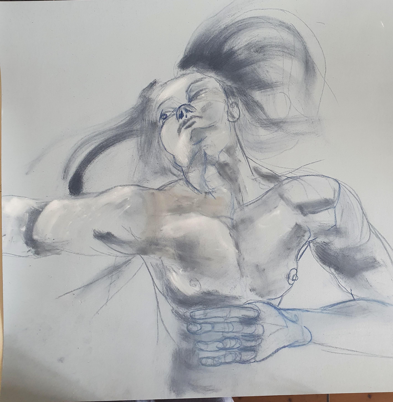 Technique mixte crayons pastel estompent grand format dessin  cours de dessin