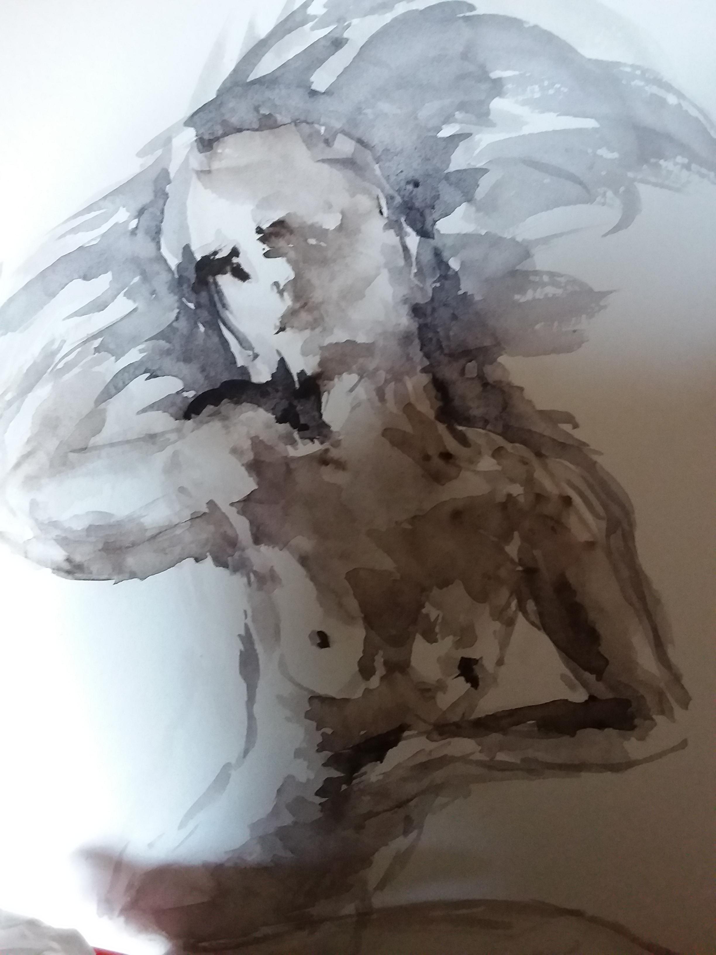 Portrait aquarelle camaïeu de gris buste  cours de dessin