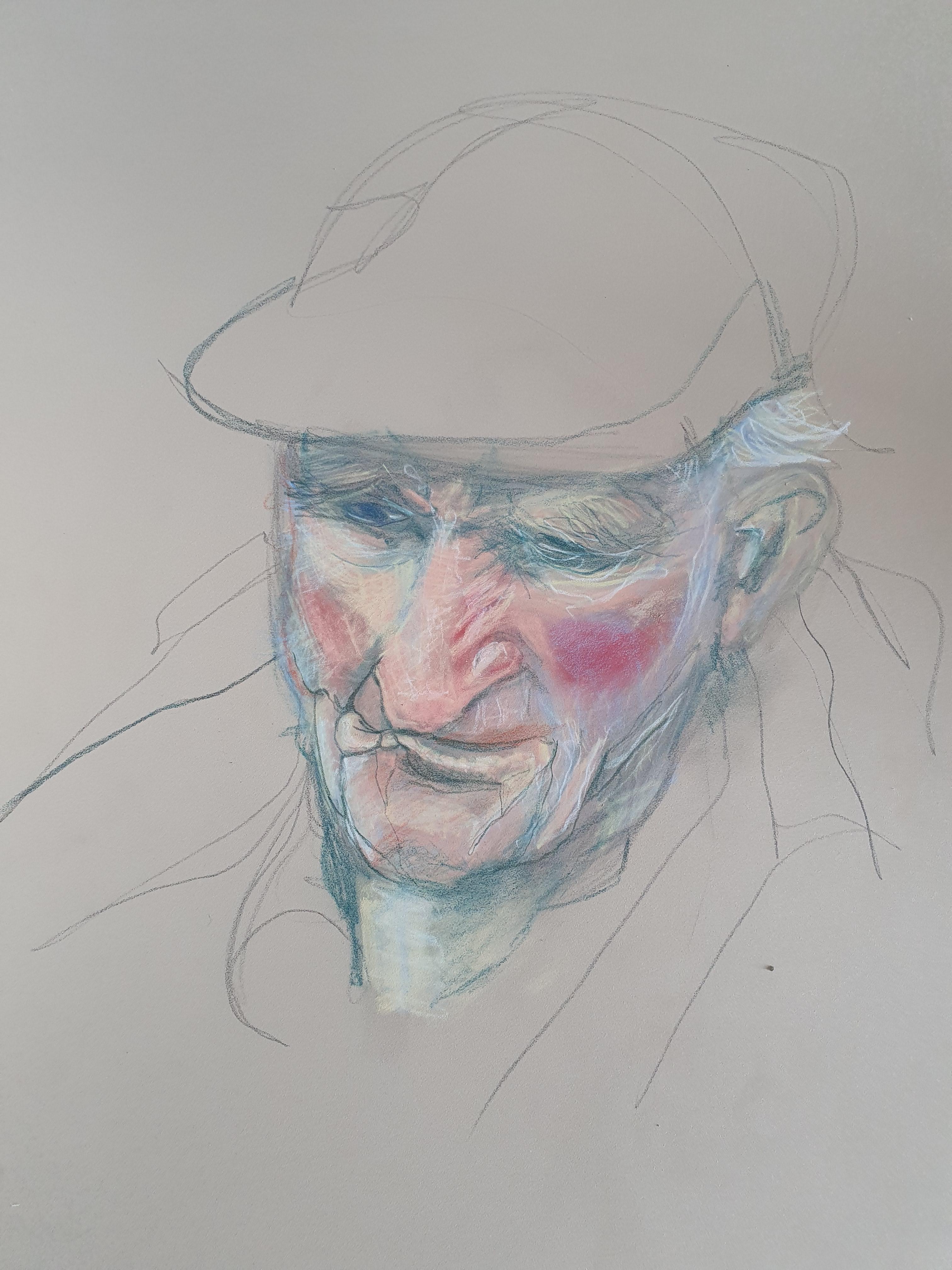 Portrait pastel polychrome vu en plongée trois quarts face  cours de dessin