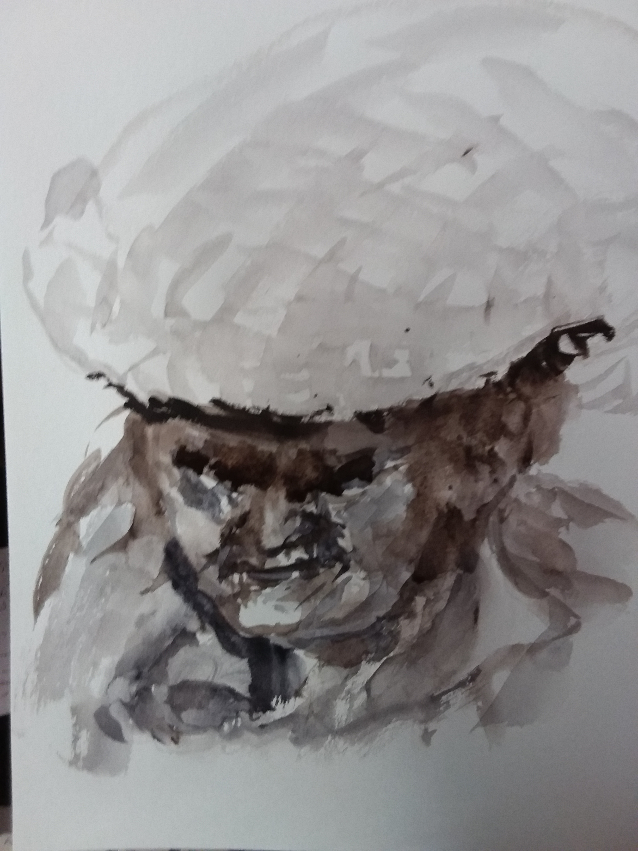 Portrait technique du lavi encre de Chine et eau plongés croquis sur papier  cours de dessin