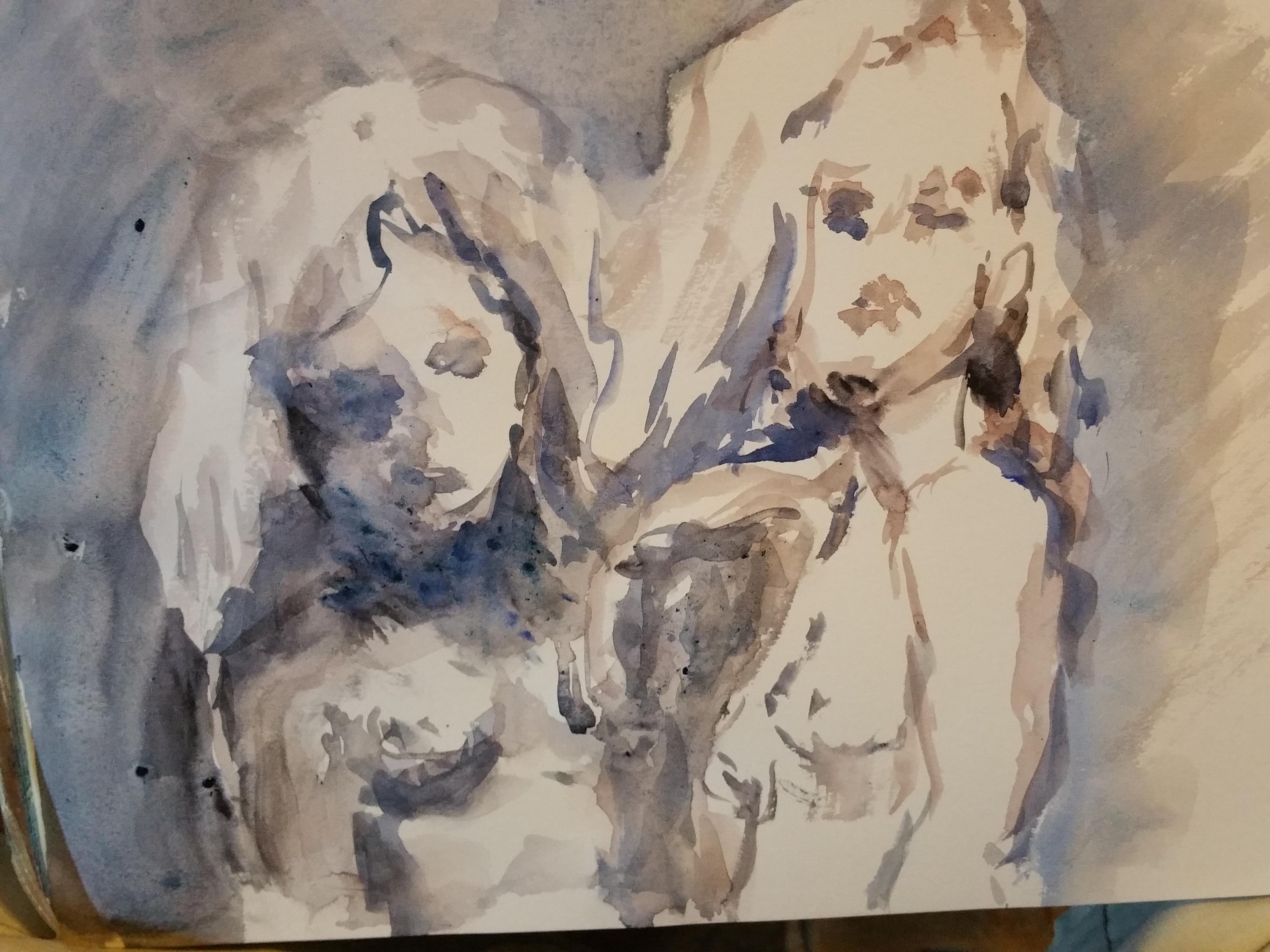 De portraits aquarelles bleus et gris rehausse ocres dessin  cours de dessin