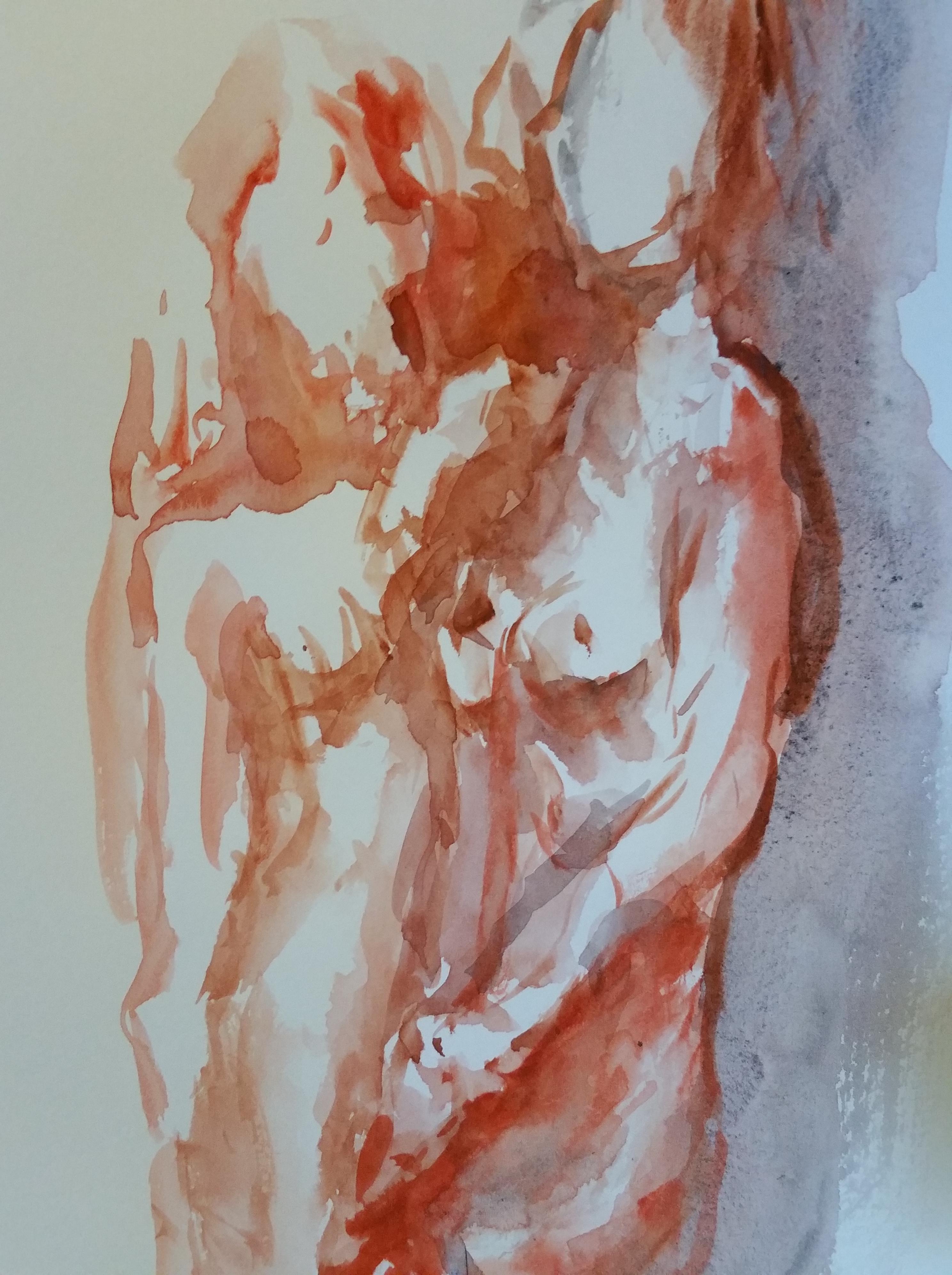 Composition aquarelle orange dessin sur papier  cours de dessin
