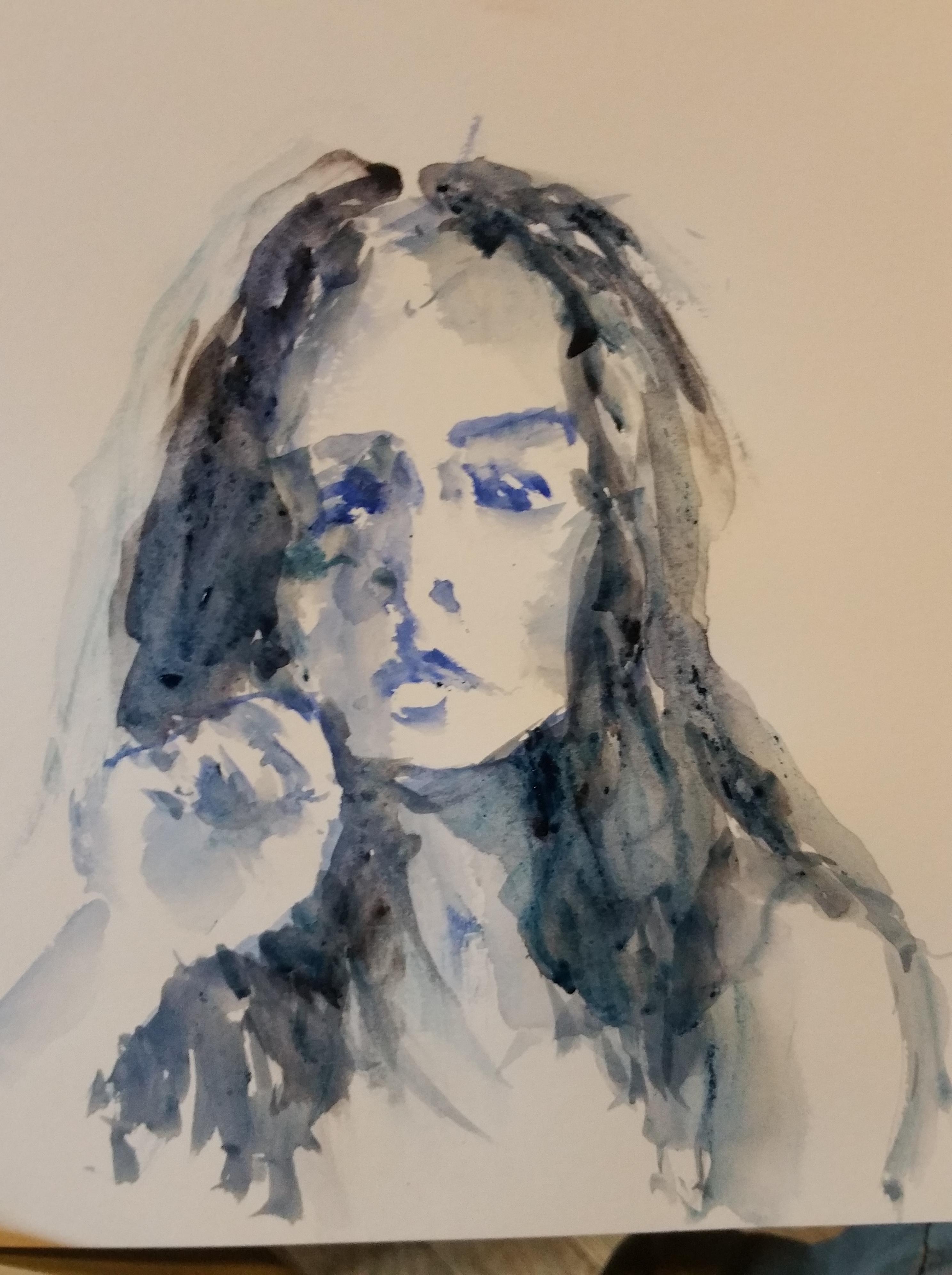 Portrait aquarelle bleu et gris  cours de dessin