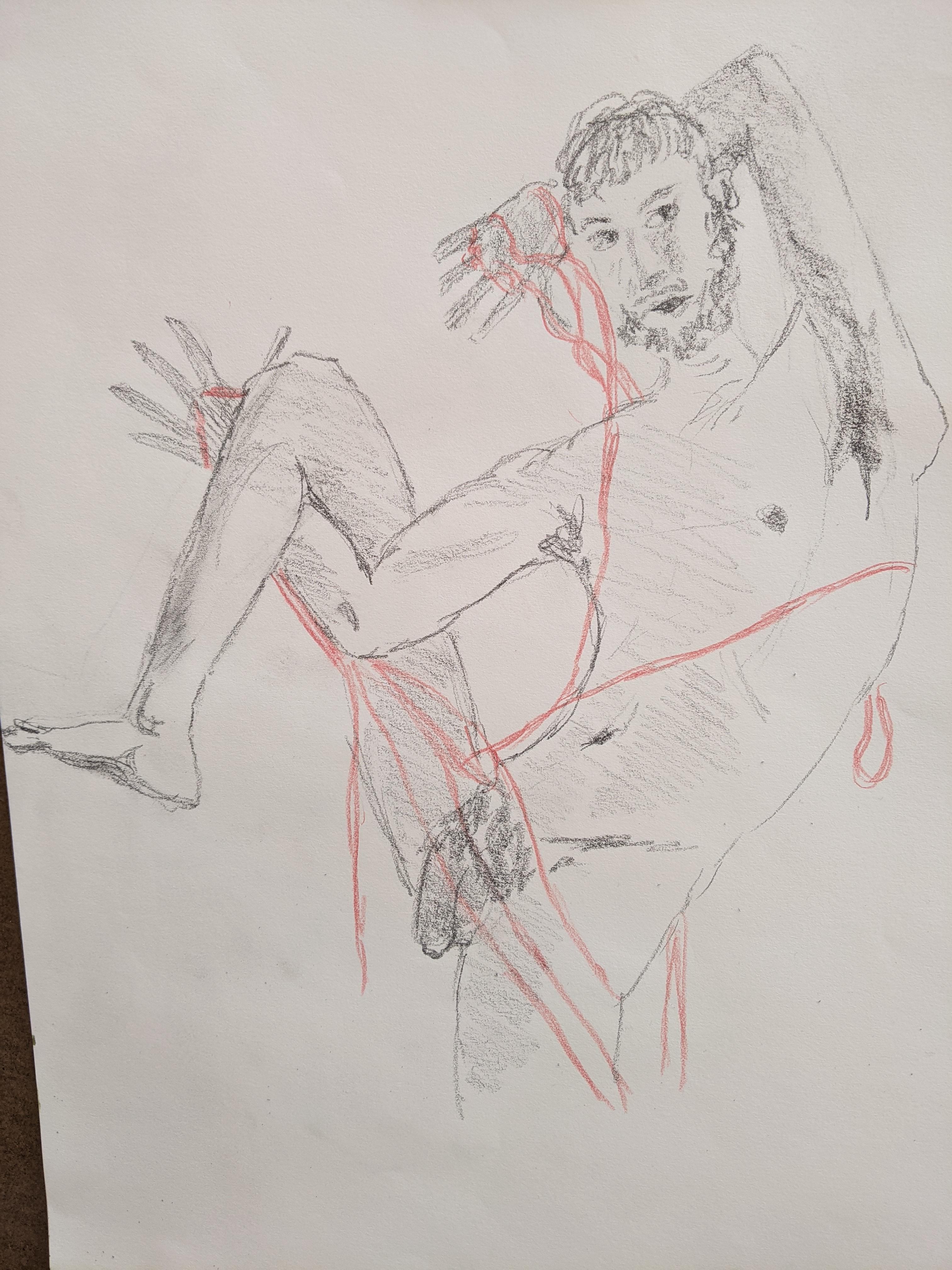 Dessin corps homme avec ruban rouge crayon papier  cours de dessin