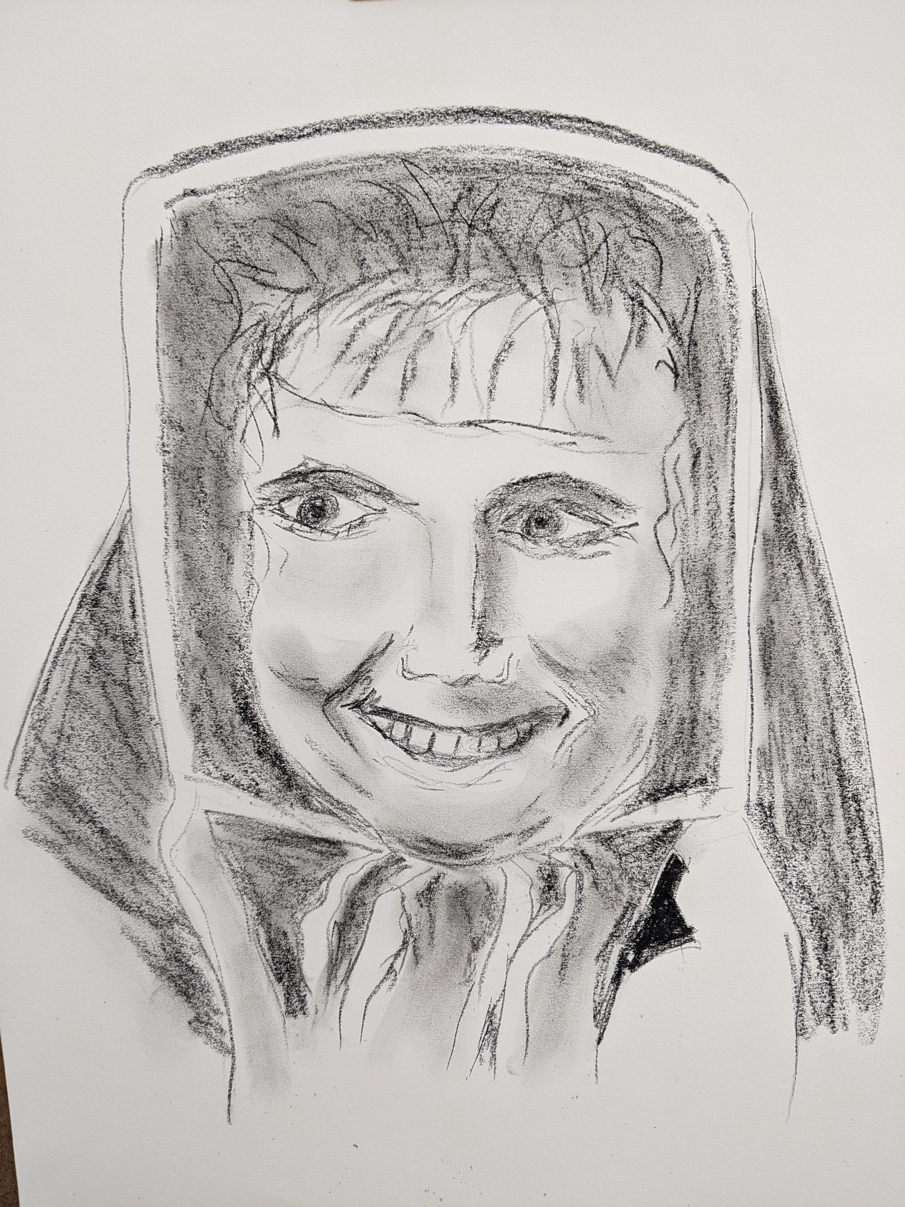 Portrait fusain femme face esquisse  cours de dessin