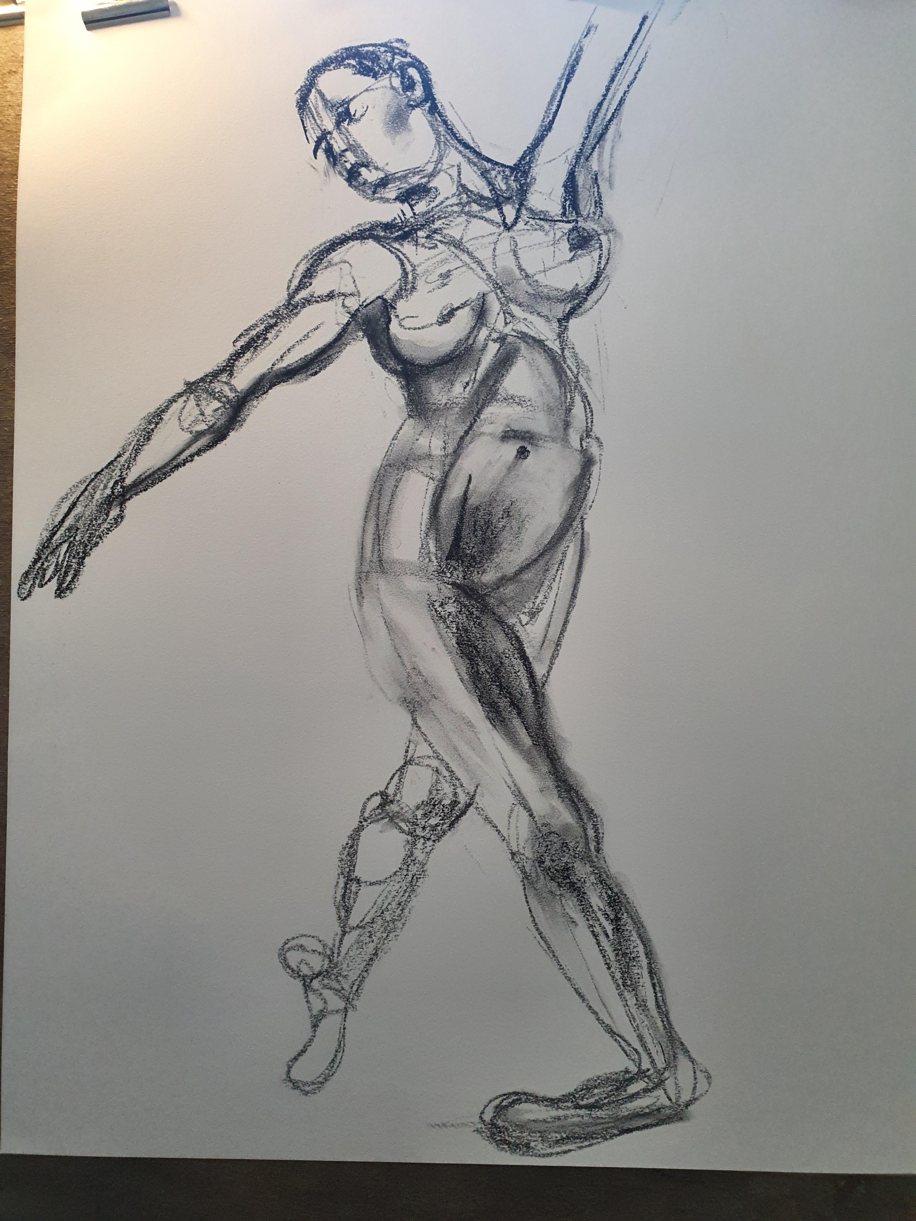 Dessin analytique du corps Format raisin au pastel  cours de dessin