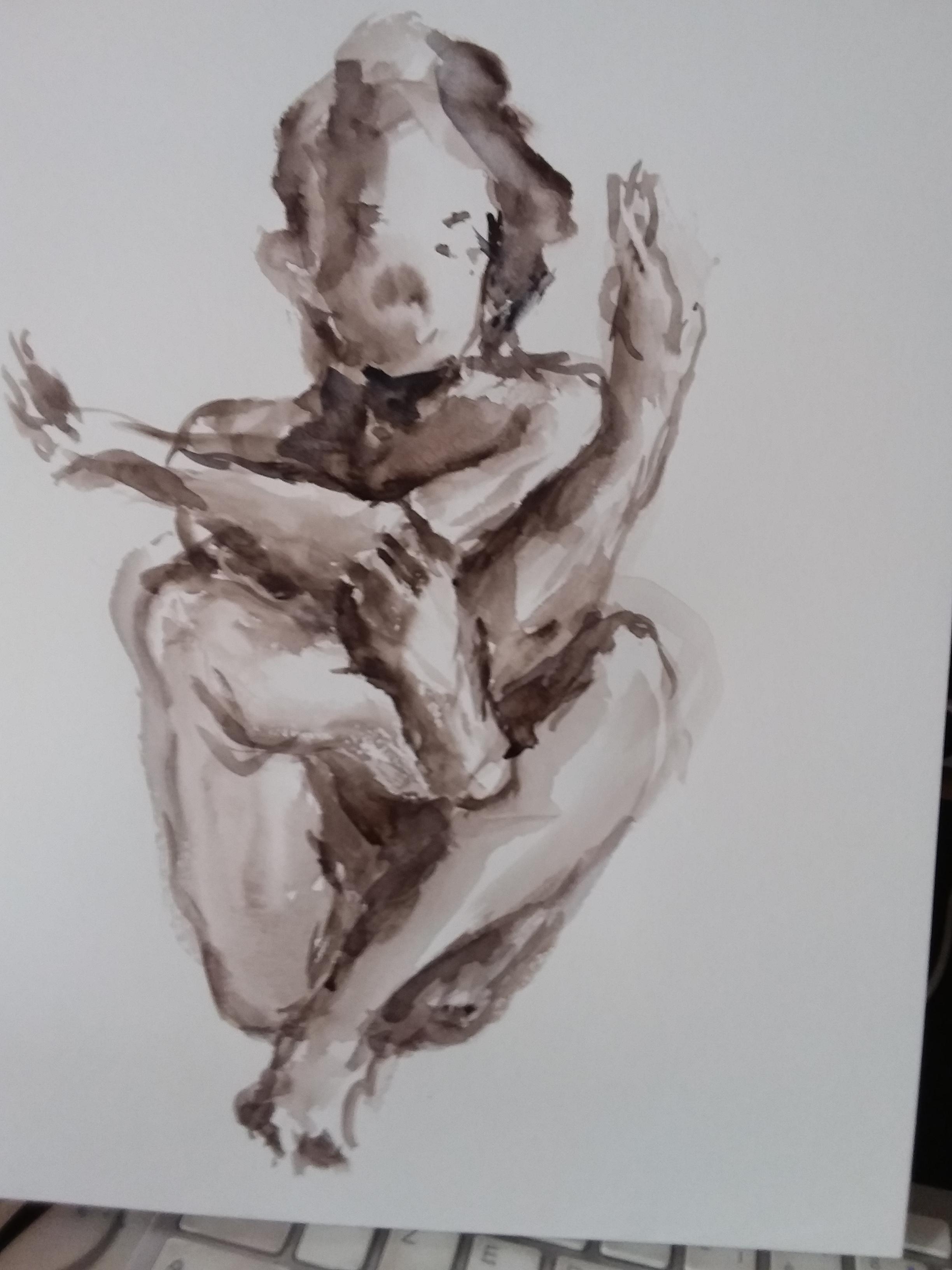 Dessin aquarelle pose regrouper camaïeu  cours de dessin