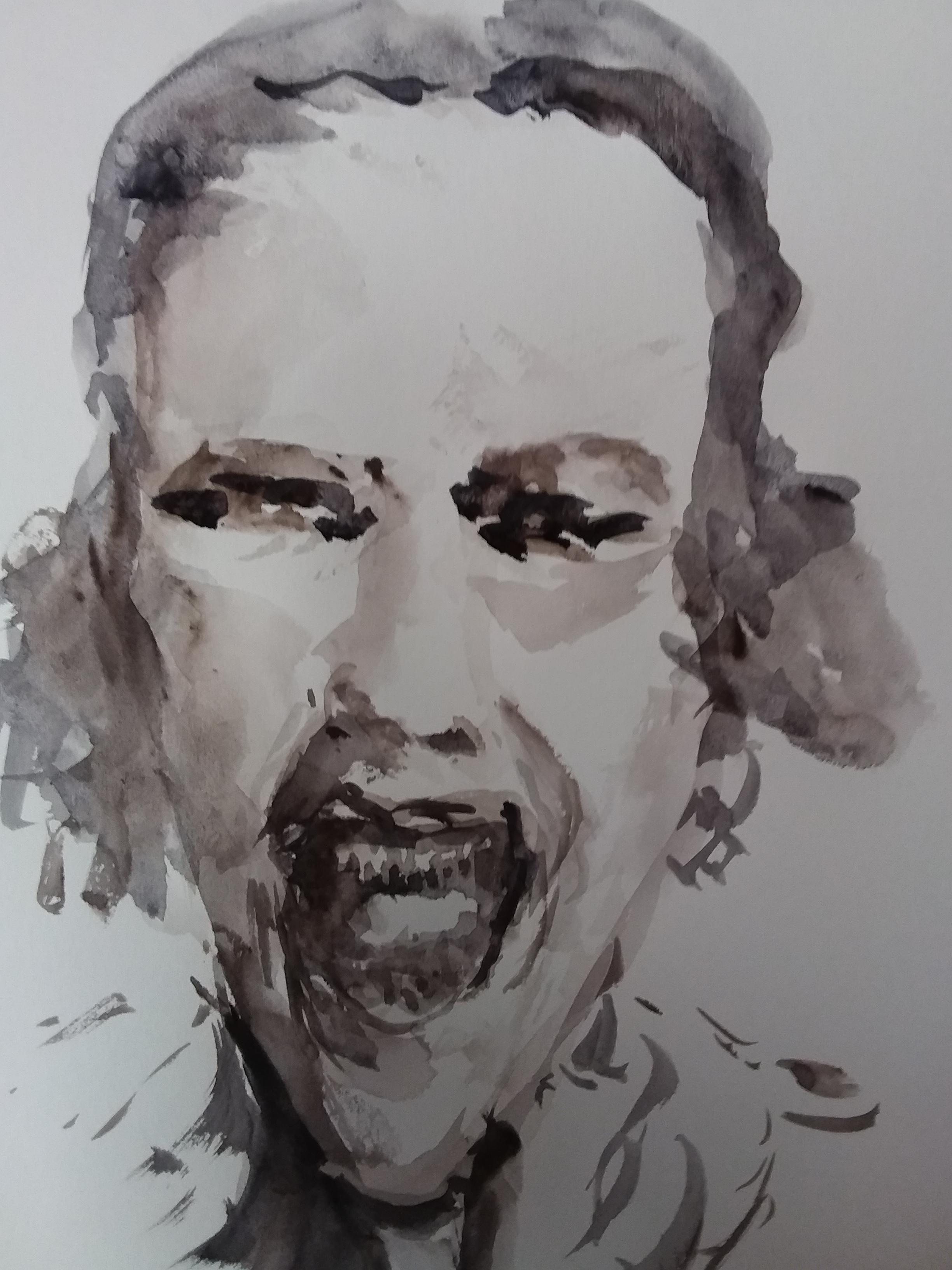 Portrait aquarelle monochrome sur papier face  cours de dessin