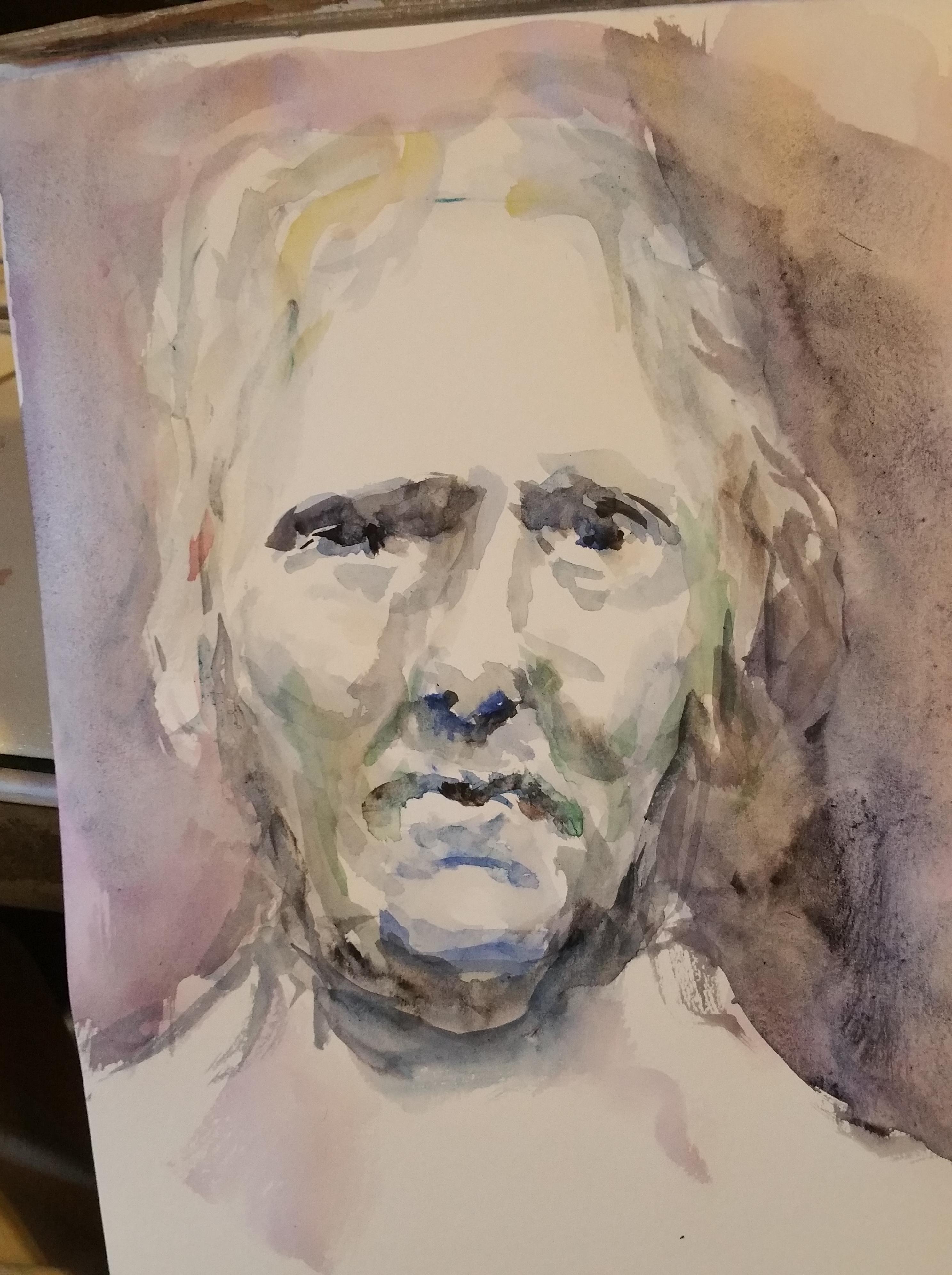 Portrait couleurs aquarelle homme de face dessin  cours de dessin