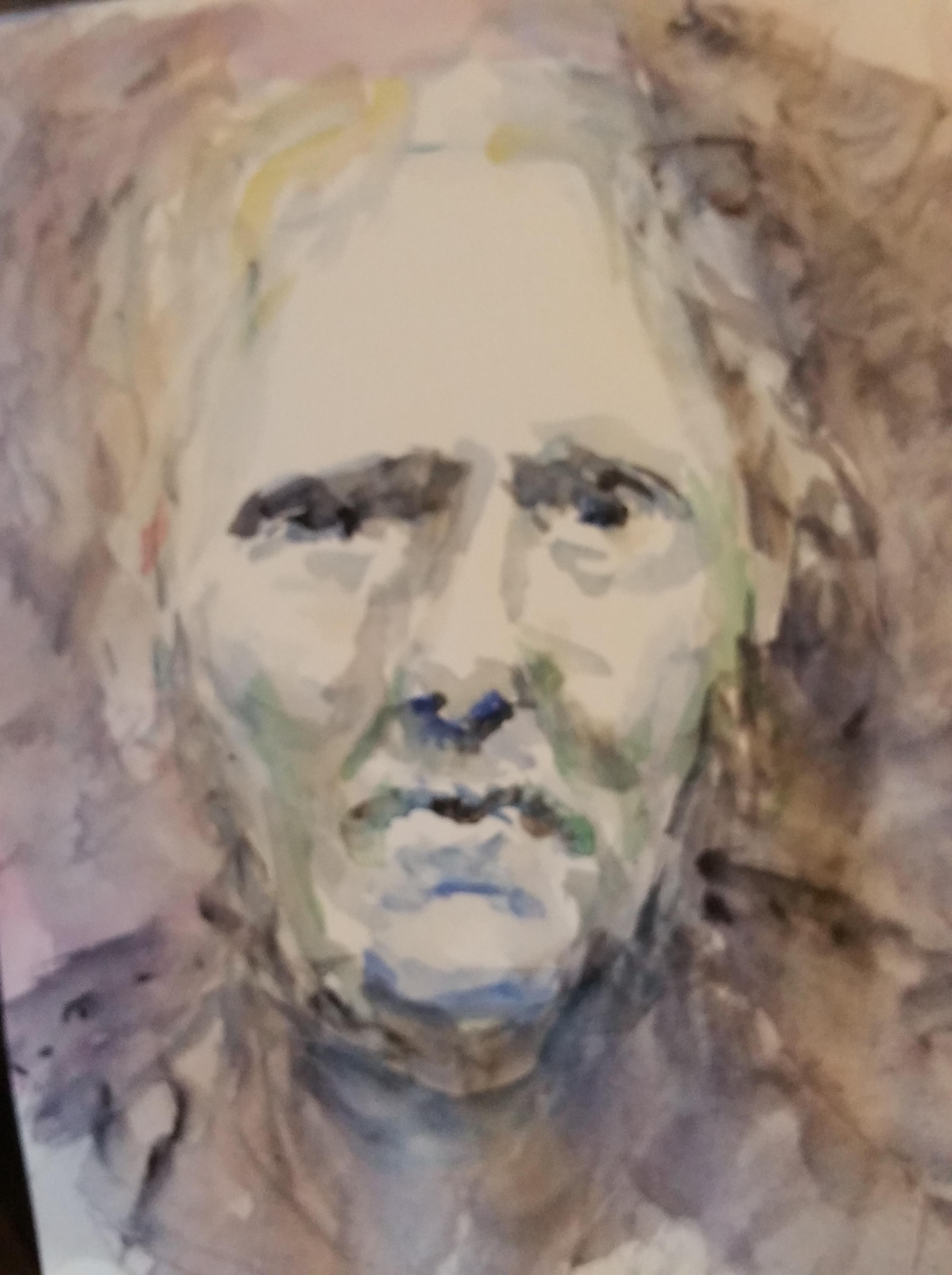 Portrait aquarelles polychrome sur papier visage de face  cours de dessin