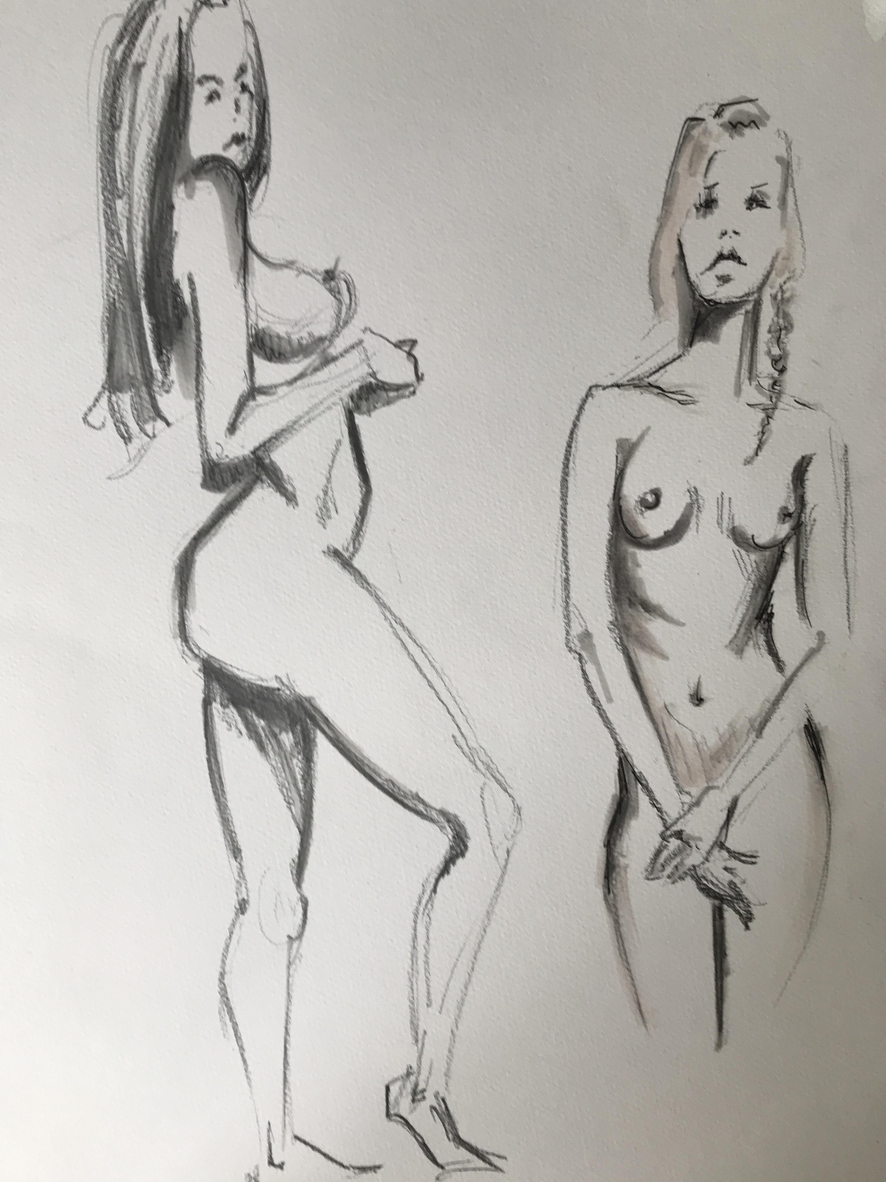Dessin étude corps au  feutre pantone sur papier  cours de dessin