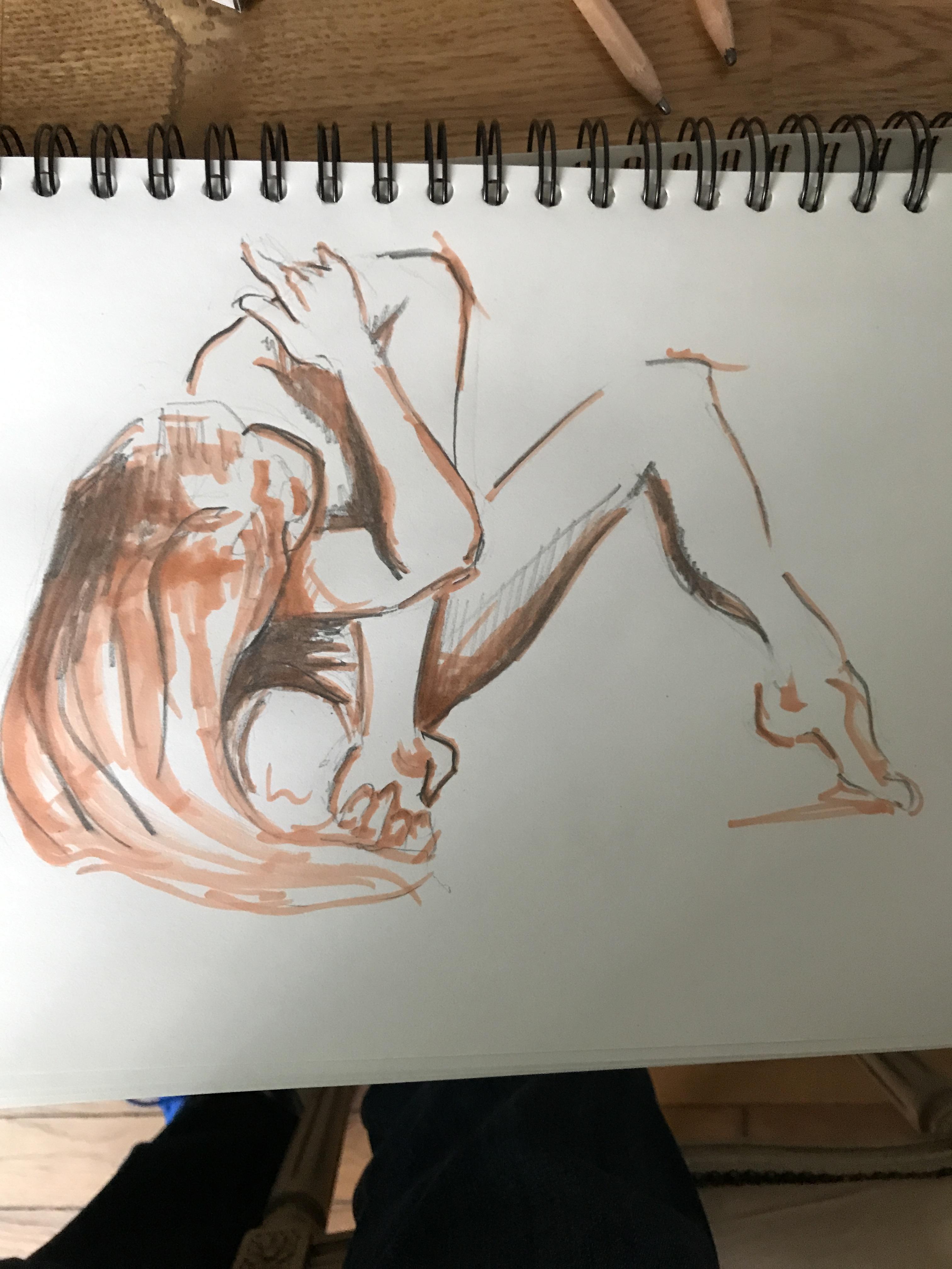 Travaille au feutre et crayon de papier dessin réalisé dans le cadre de nous cours de dessin à Paris  cours de dessin