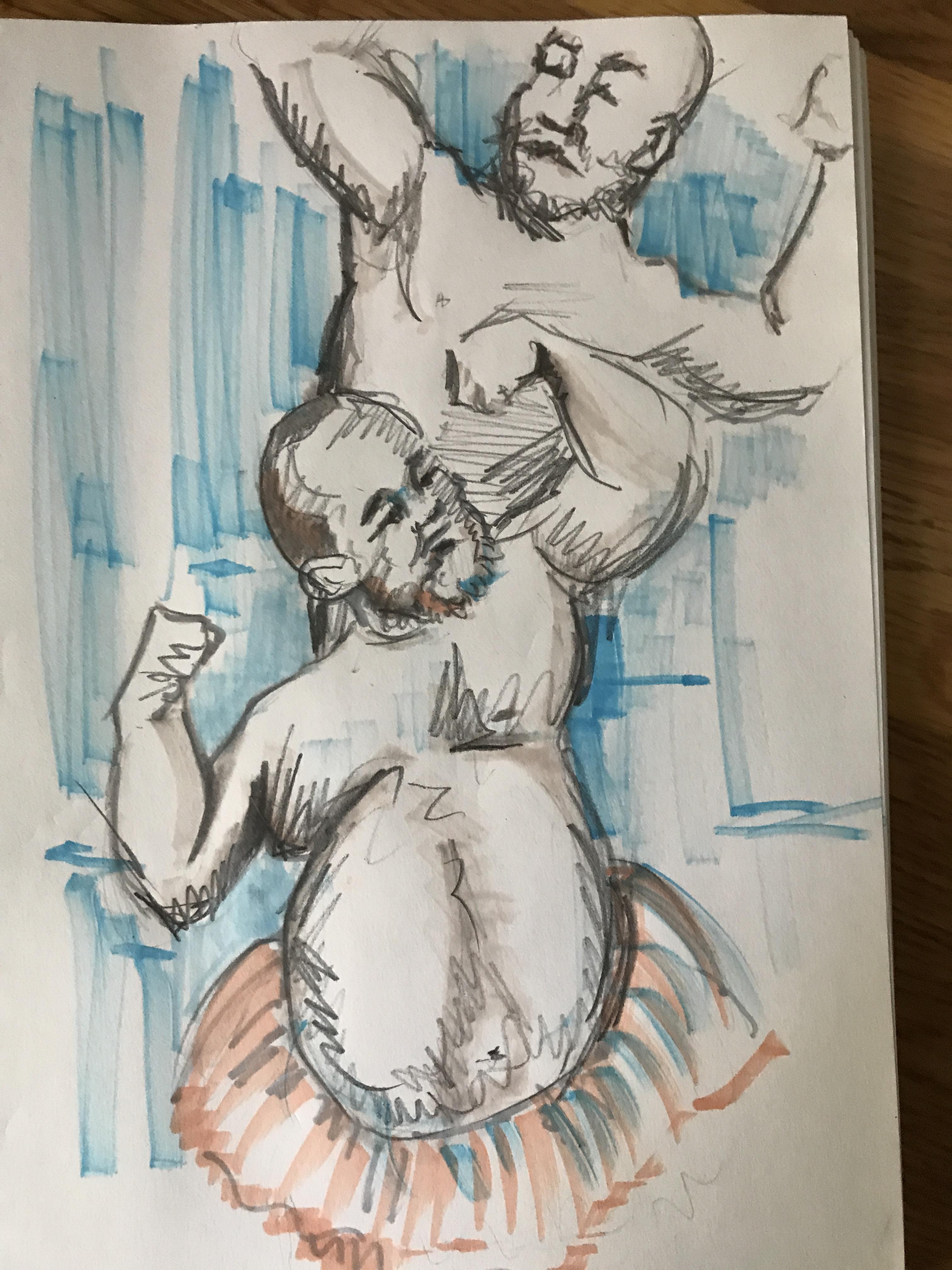 Dessin feutre colorer sur papier composition de personnages  cours de dessin