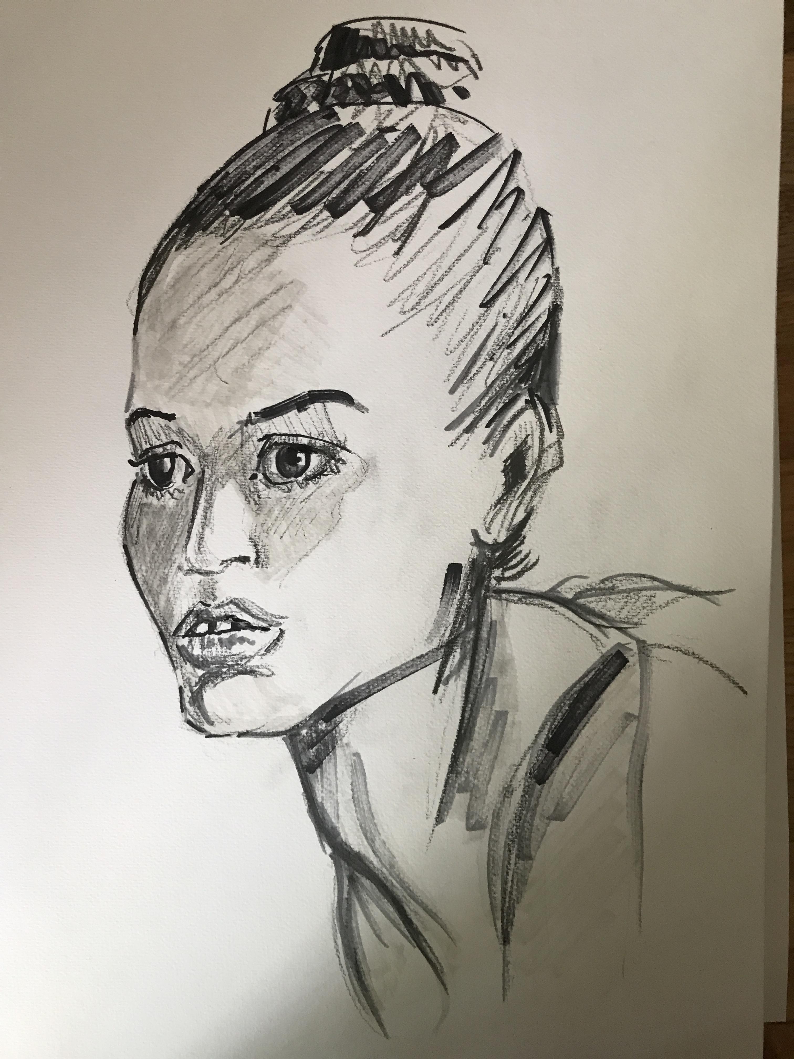 Portrait feutre trois quarts face gauches  cours de dessin