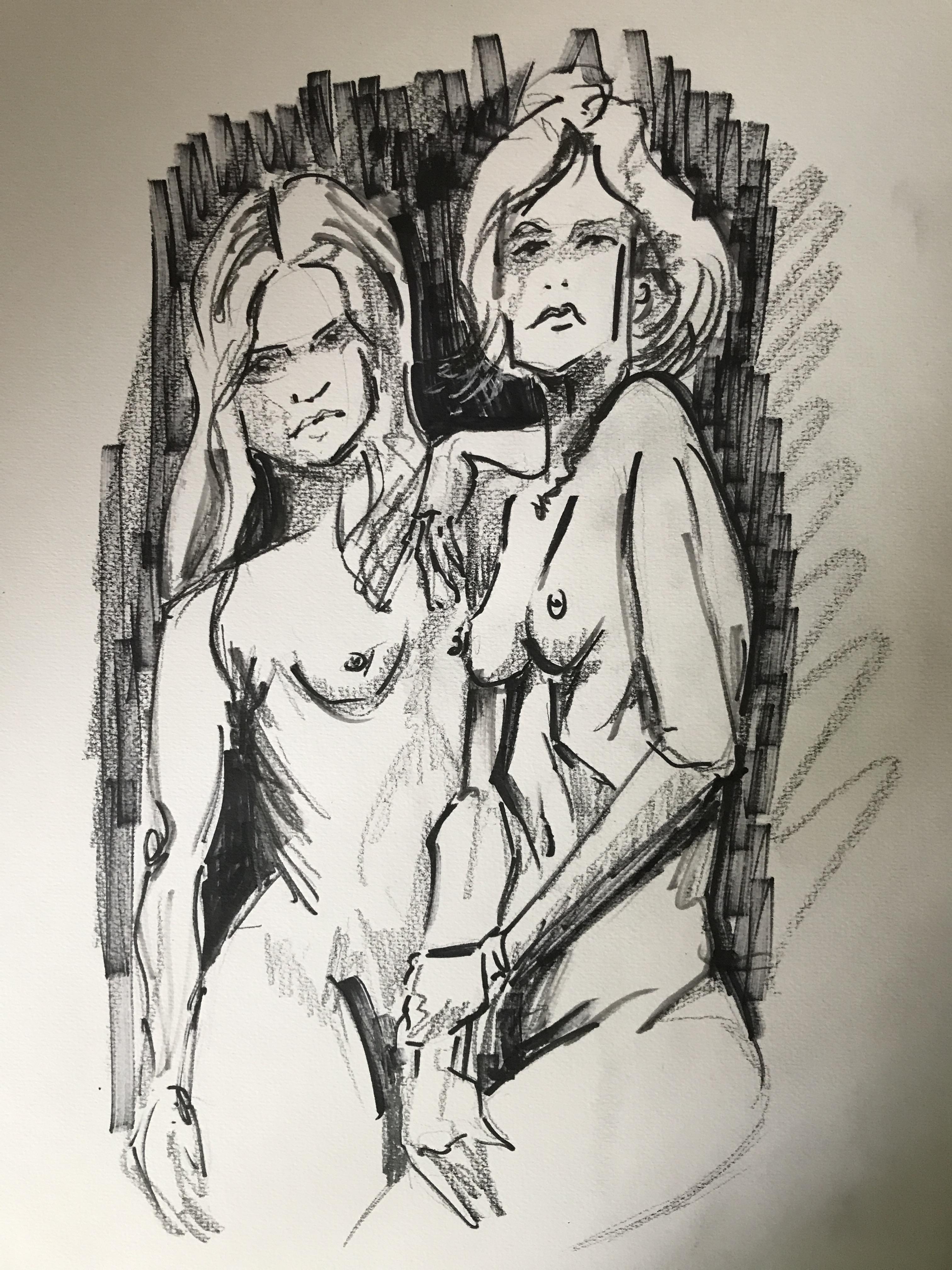 Feutre crayon papier dessin buste de deux femmes face et profil  cours de dessin