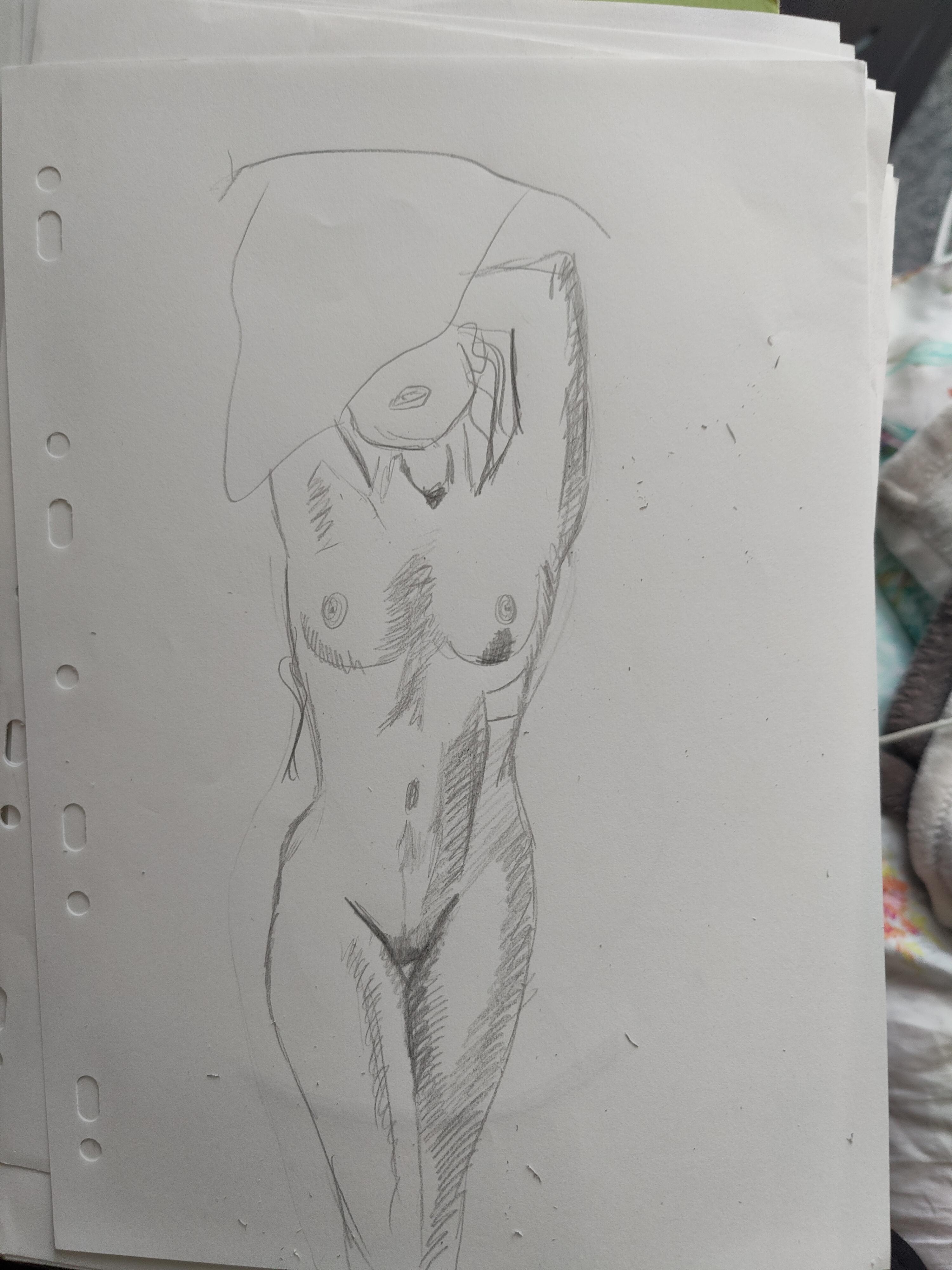 Croquis rapide crayon de papier hachures femme face  cours de dessin