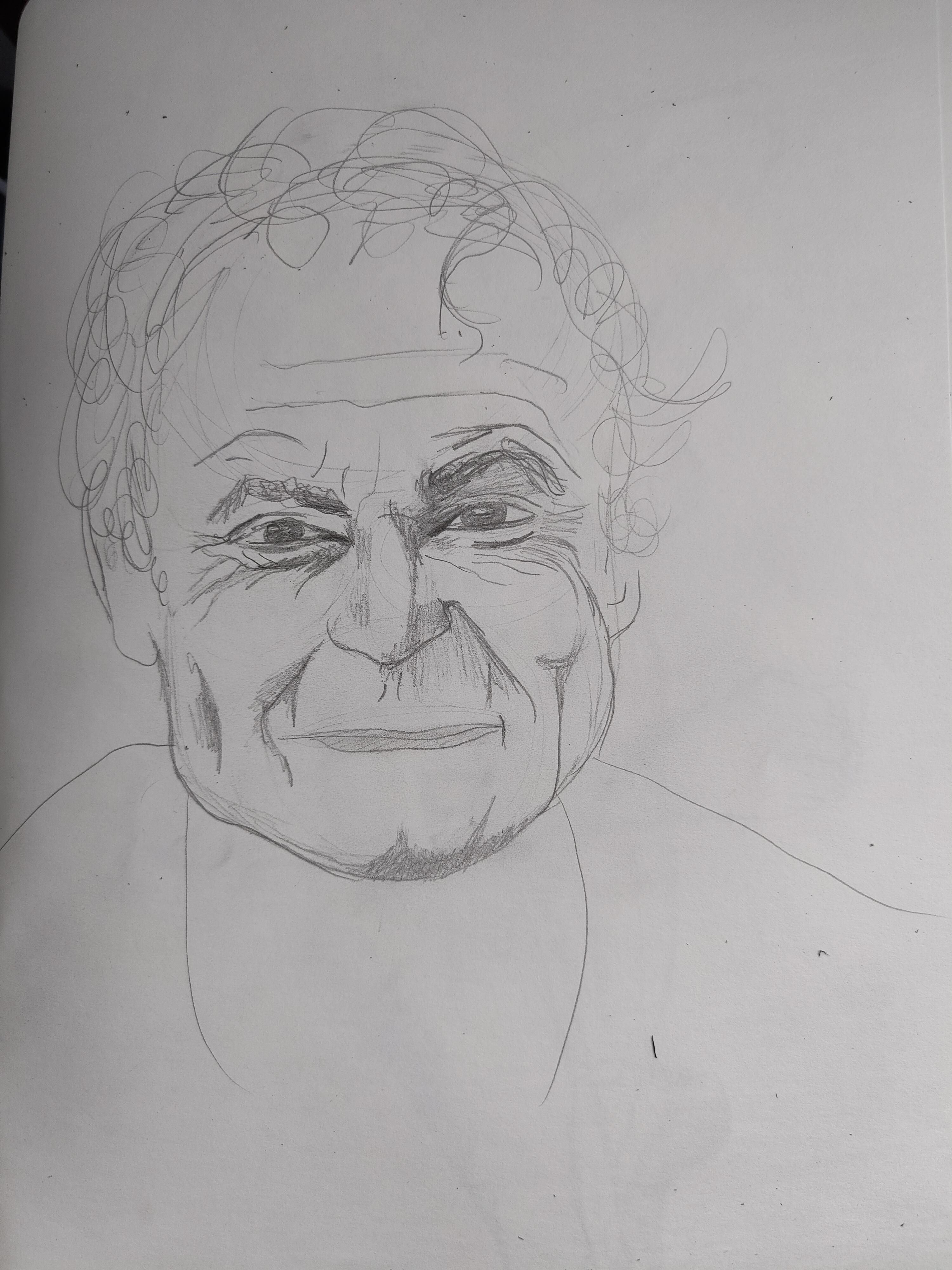 Portrait dessin homme de face graphique sur papier  cours de dessin