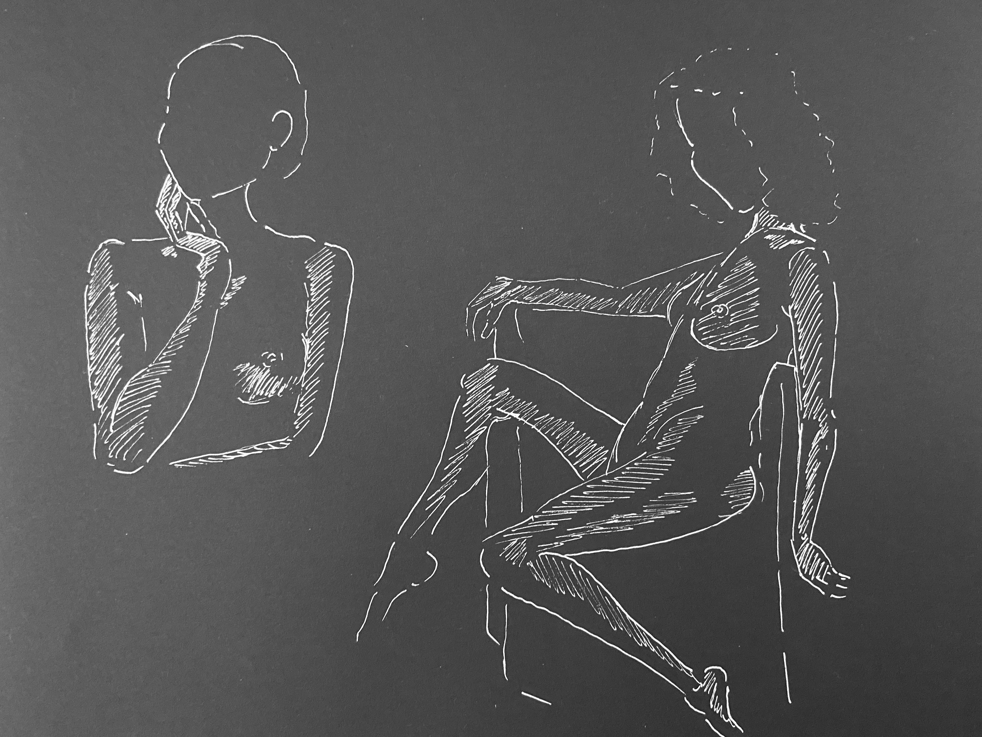 Étude sur papier noir dessin au feutre blanc  cours de dessin